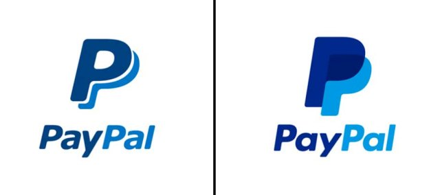 Left: Previous PayPal logo; Right: Updated logo as of May, 2014.