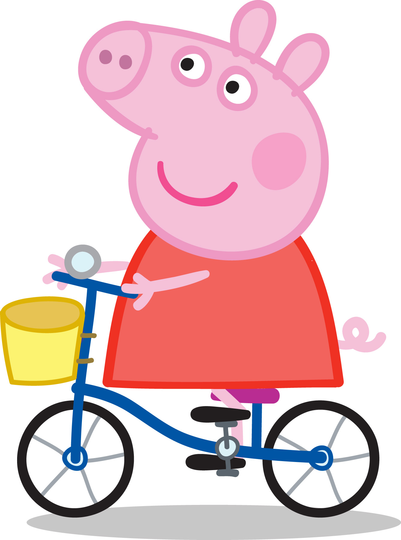 Peppa Pig rides her bicyle in a scene from one of the  Tickle U  series of cartoons.