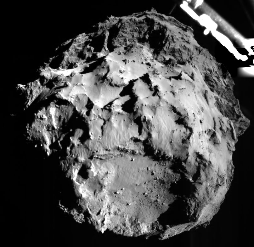 This image shows comet 67P/CG and was acquired by the ROLIS instrument on the Philae lander during descent on Nov. 12,  2014, 14:38:41 UT from a distance of approximately 3 km from the surface.