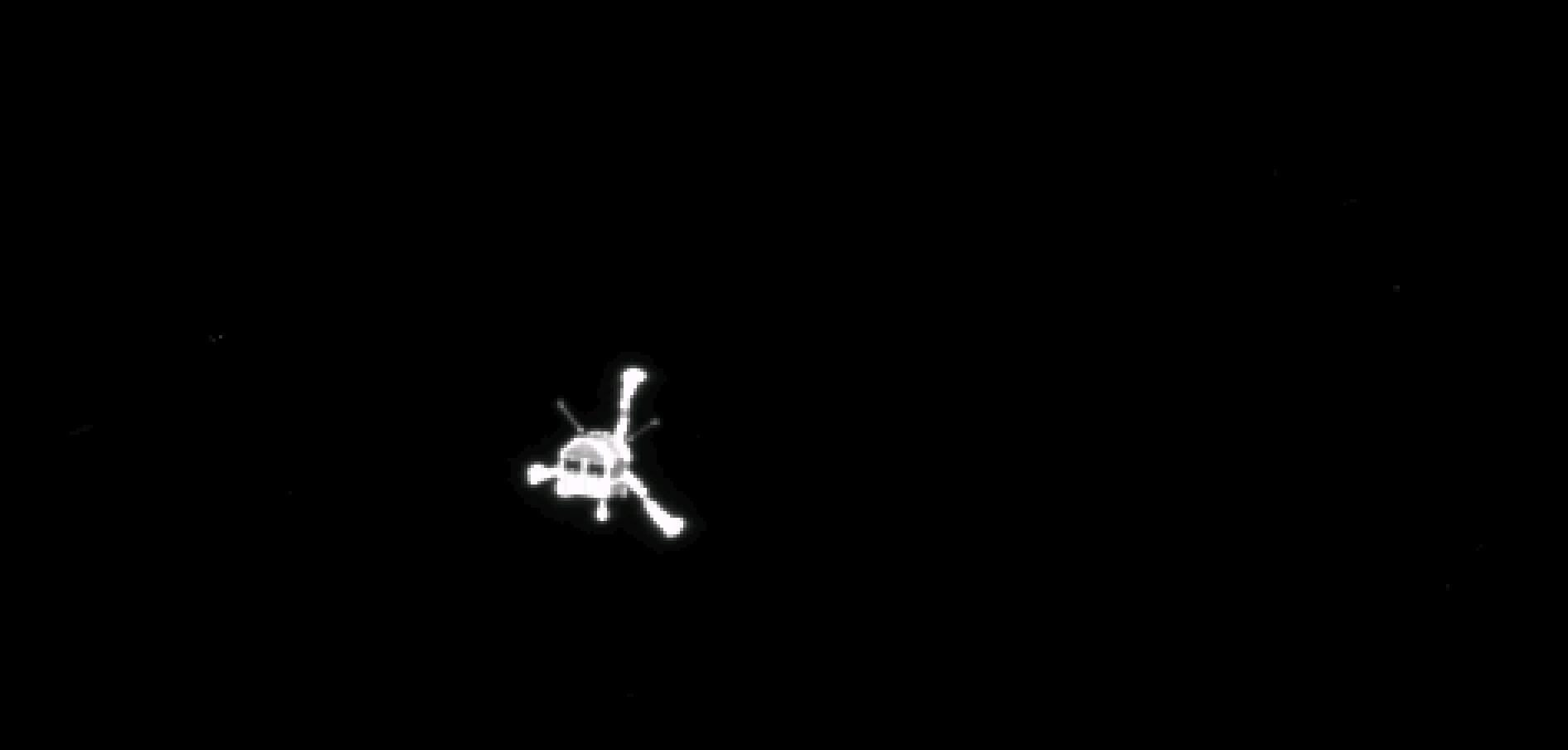 The Philae lander shortly after separation from Rosetta, on Nov. 12, 2014.