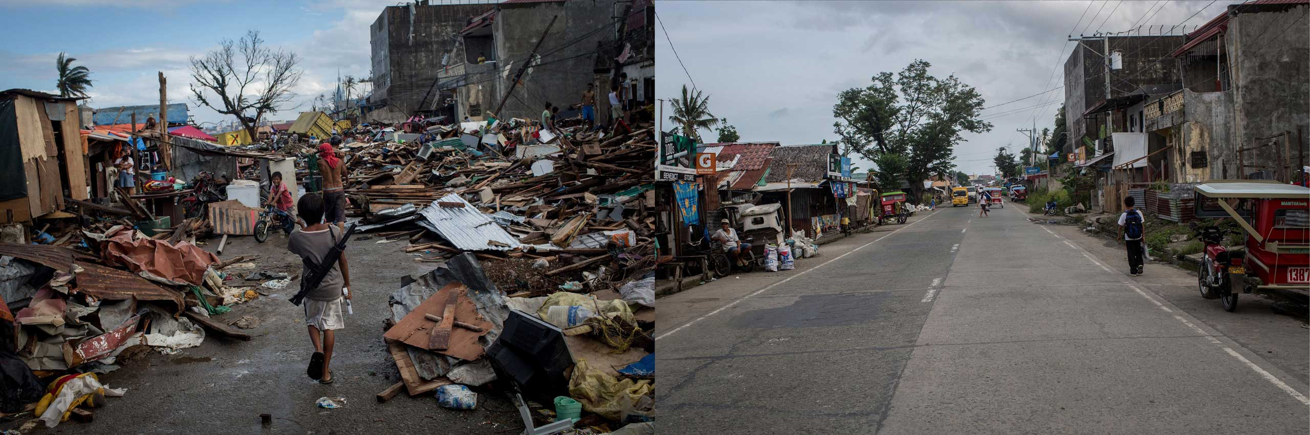 Before: A group of boys play with replica guns amongst debris in Tacloban City following the recent super typhoon on Nov. 17, 2013 in Leyte, Philippines.After: View of the main road in Anibong district one year after Typhoon Haiyan on Nov. 3, 2014.