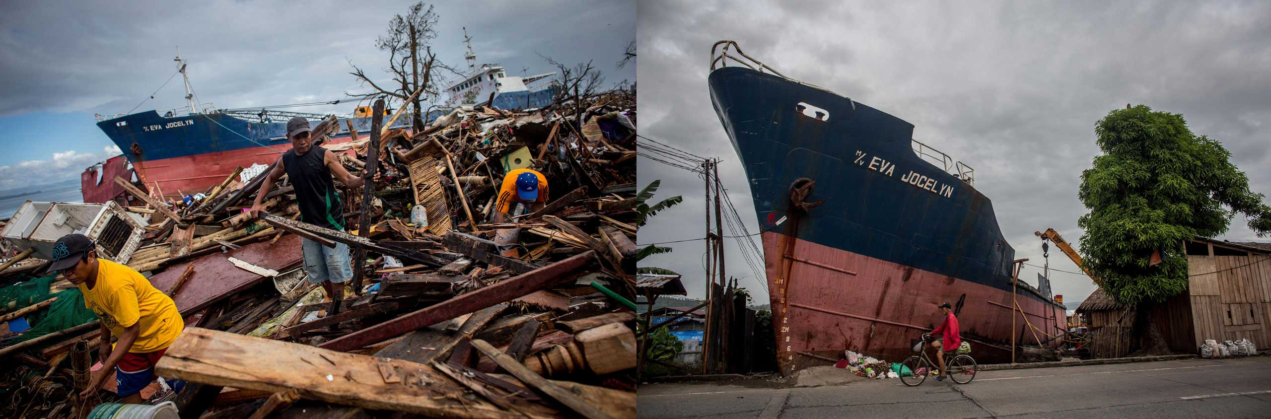 Before: Residents clear debris away following the recent super typhoon on Nov. 17, 2013 in Leyte, Philippines. After: View of the main road in Anibong district one year after Typhoon Haiyan on Nov. 3, 2014.