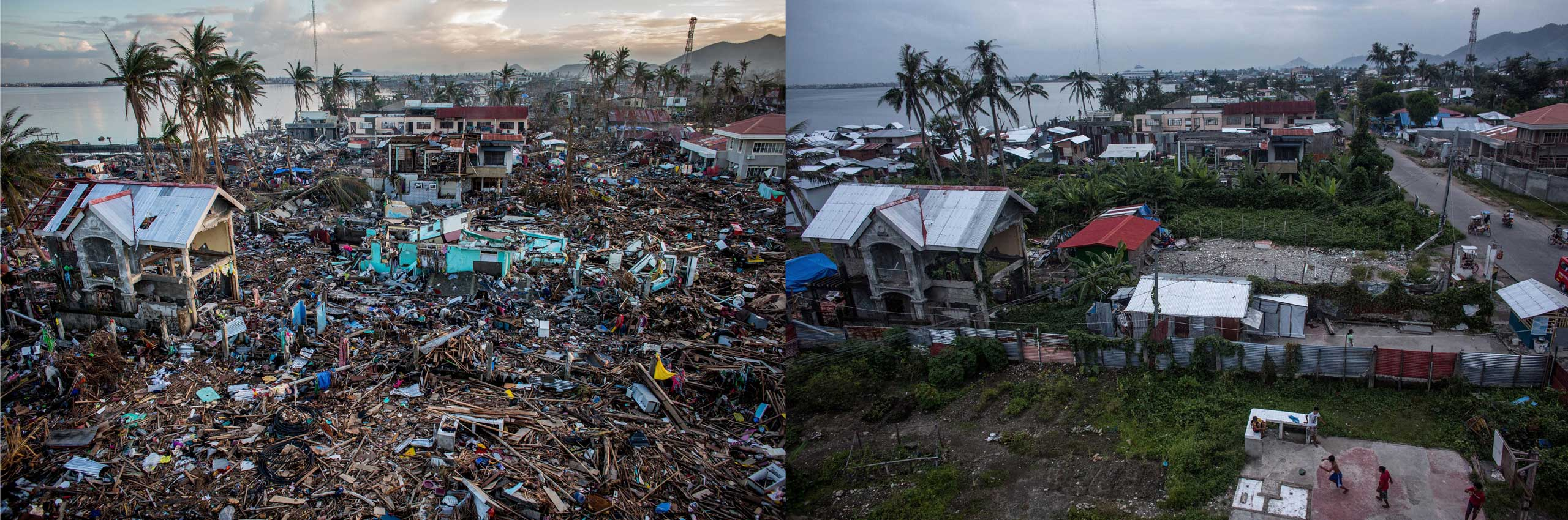 Before: A general view of the destroyed coastline in Tacloban City on Nov. 17, 2013 in Leyte, Philippines.After: View overlooking Magallanes district one year after Typhoon Haiyan on Nov. 4, 2014.