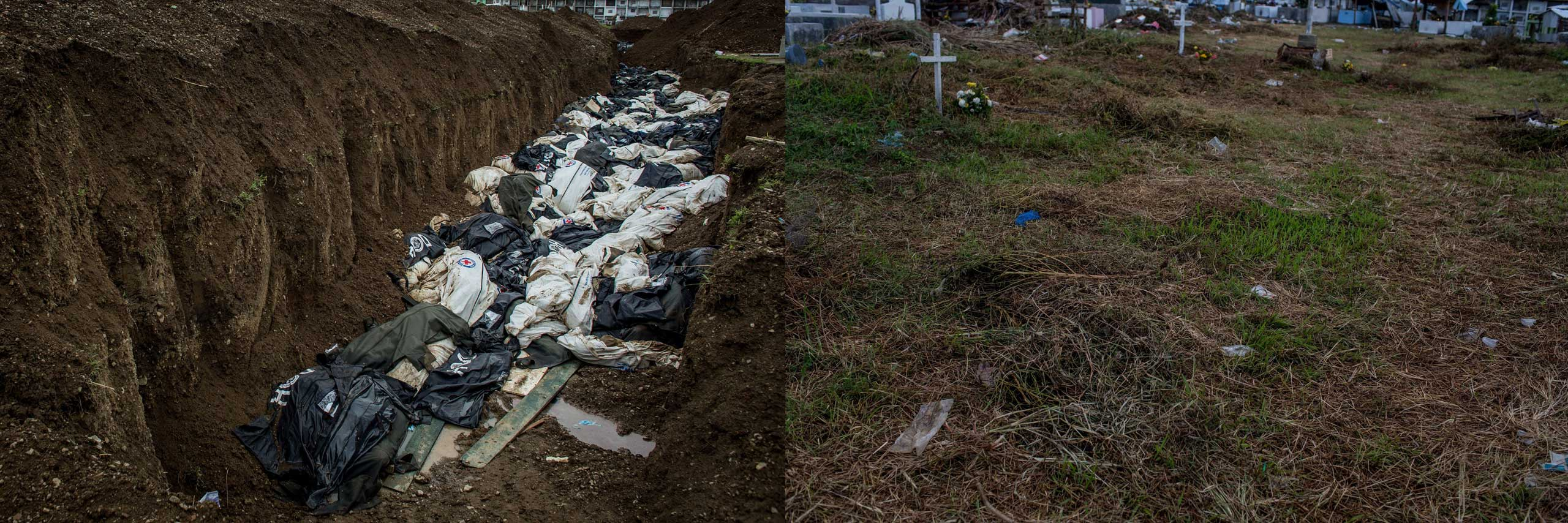 Before: Bodies are seen in a mass grave on the outskirts of Tacloban City on Nov. 20, 2013 in Leyte, Philippines.After: View of the mass grave site at Basper Cemetary one year after Typhoon Haiyan  on Nov. 3, 2014.