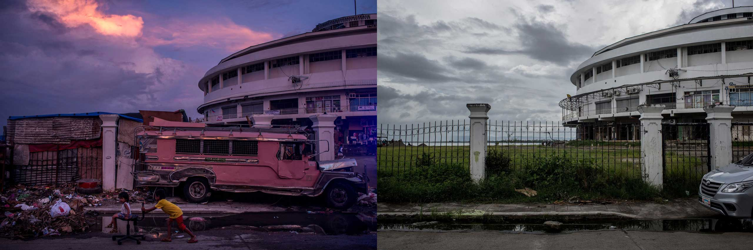 Before: Children play on the street in front of the Tacloban Astrodome evacuation center following the recent super typhoon on Nov. 20, 2013 in Leyte, Philippines.  After: View of the tacloban Astro Dome one year after Typhoon Haiyan on Nov. 3, 2014.
