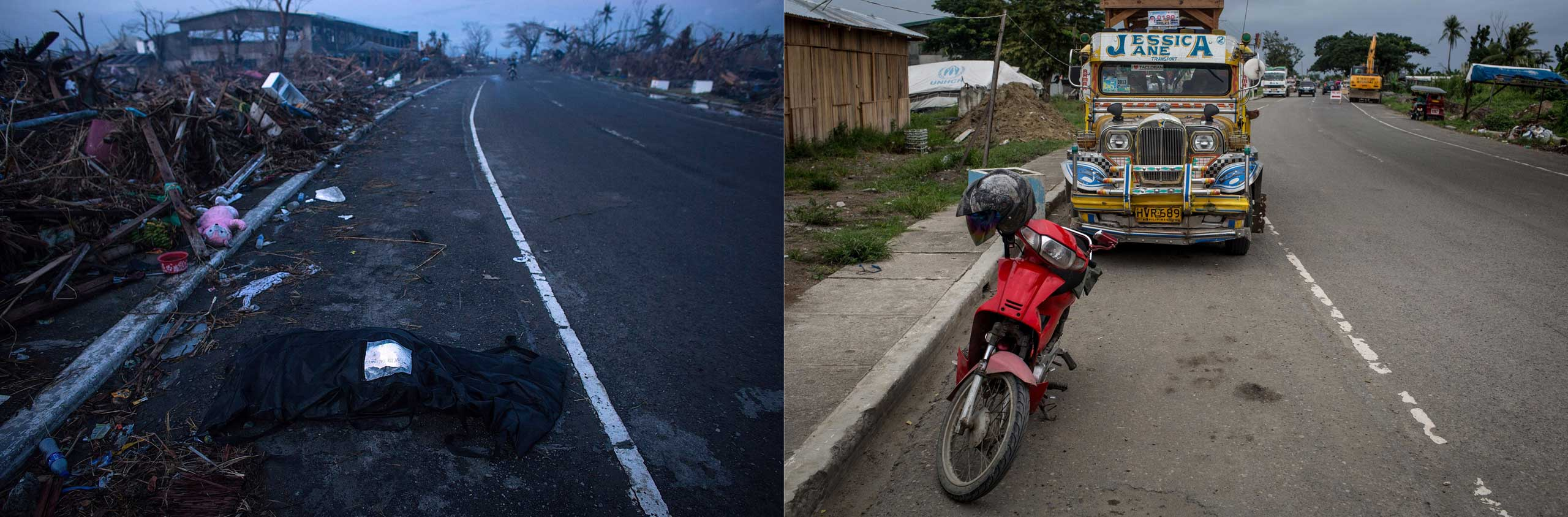 Before: A body waits to be collect on the side of the road in Tacloban City on Nov. 14, 2013 in Leyte, Philippines.After: View along the road from the airport one year after Typhoon Haiyan on Nov. 3, 2014.