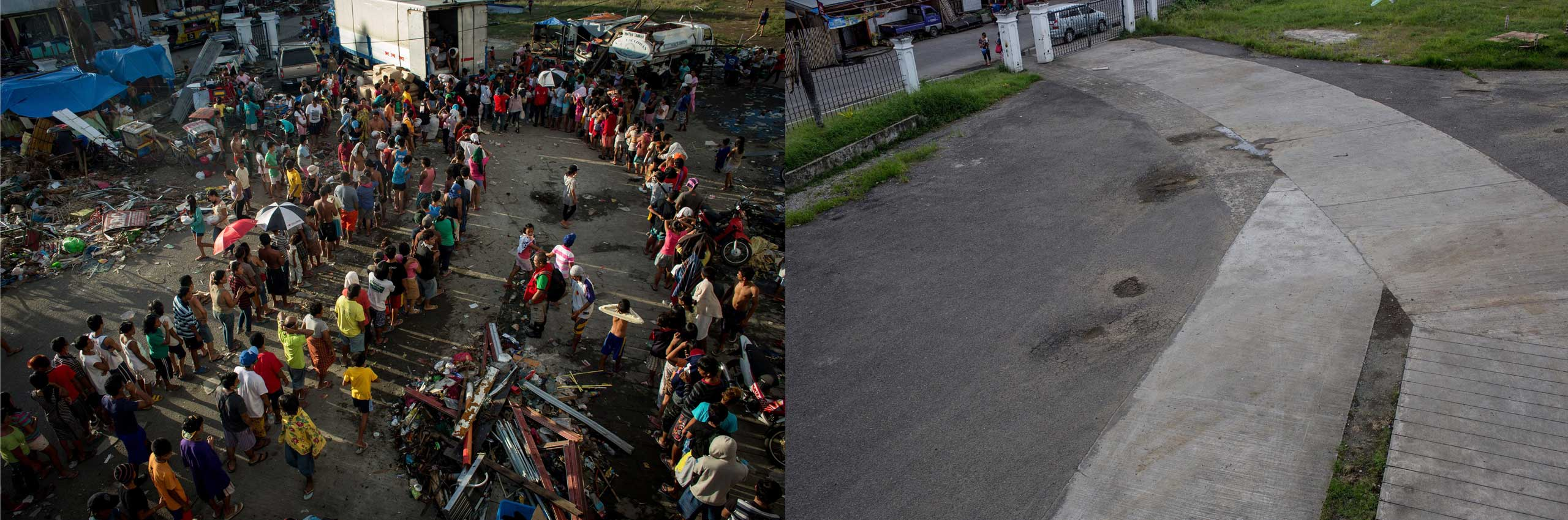 Before: People line up for relief handouts outside the Tacloban Stadium on November 15, 2013 in Leyte, Philippines.After: View of the grounds of the Tacloban Astro Dome one year after Typhoon Haiyan on Nov. 3, 2014.