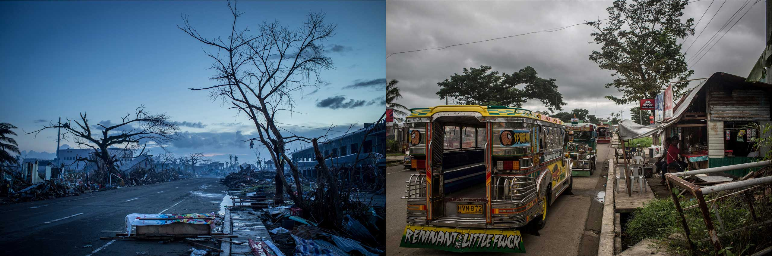 Before: A homemade casket is seen on the side of the road as curfew approaches on Nov. 14, 2013 in Leyte, Philippines.After: View along the road from the airport one year after Typhoon Haiyan on Nov. 3, 2014.