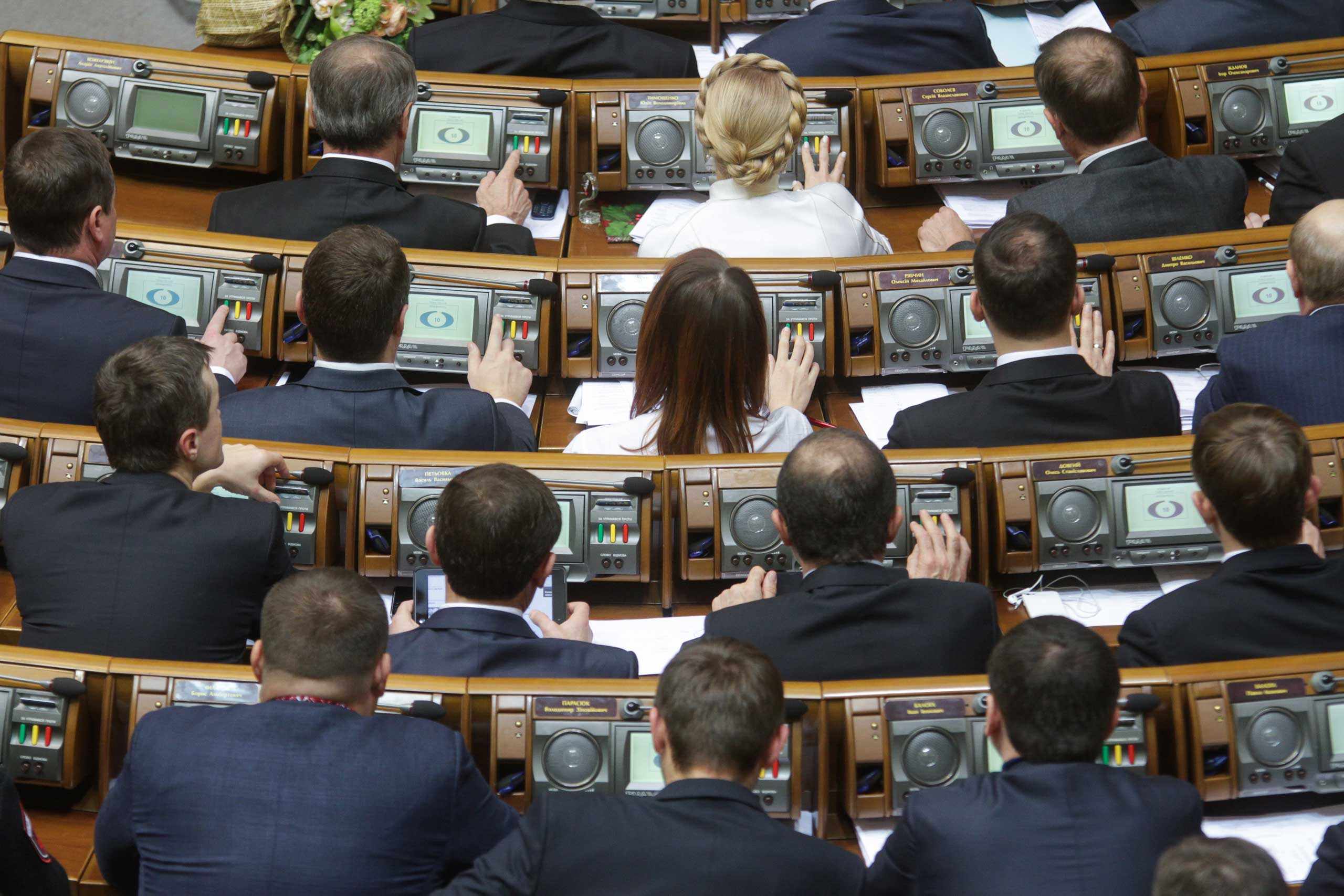 Nov. 27, 2014. Deputies vote for a new speaker of Ukrainian parliament during a session, in Kiev. Ukraine's parliament met for its first sitting since pro-Western parties won a crushing victory in the October elections.