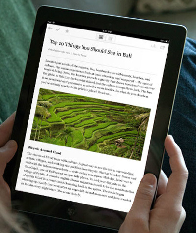 <strong>Pocket.</strong> Pocket lets you grab various bits from around the web — articles, videos, images and more — and save them for later perusal. The free app takes text articles and strips out all the ads, buttons and other digital detritus to present a clean, easy-on-the-eyes reading experience.
