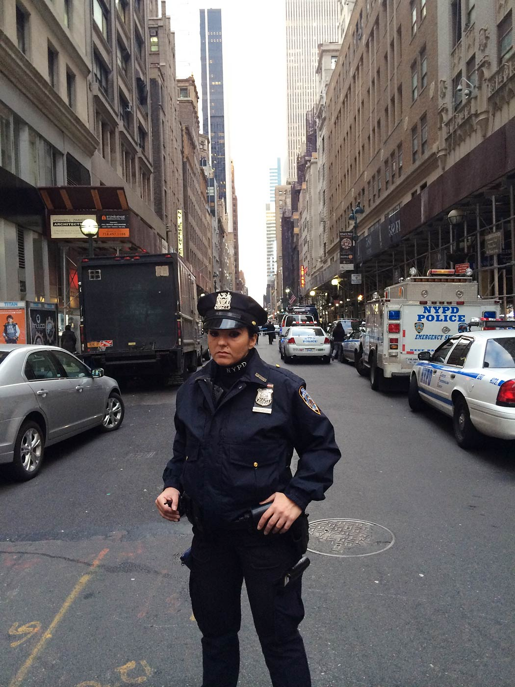 A police officer stands guard at the entrance of the Diamond District in New York City on Nov. 11, 2014.