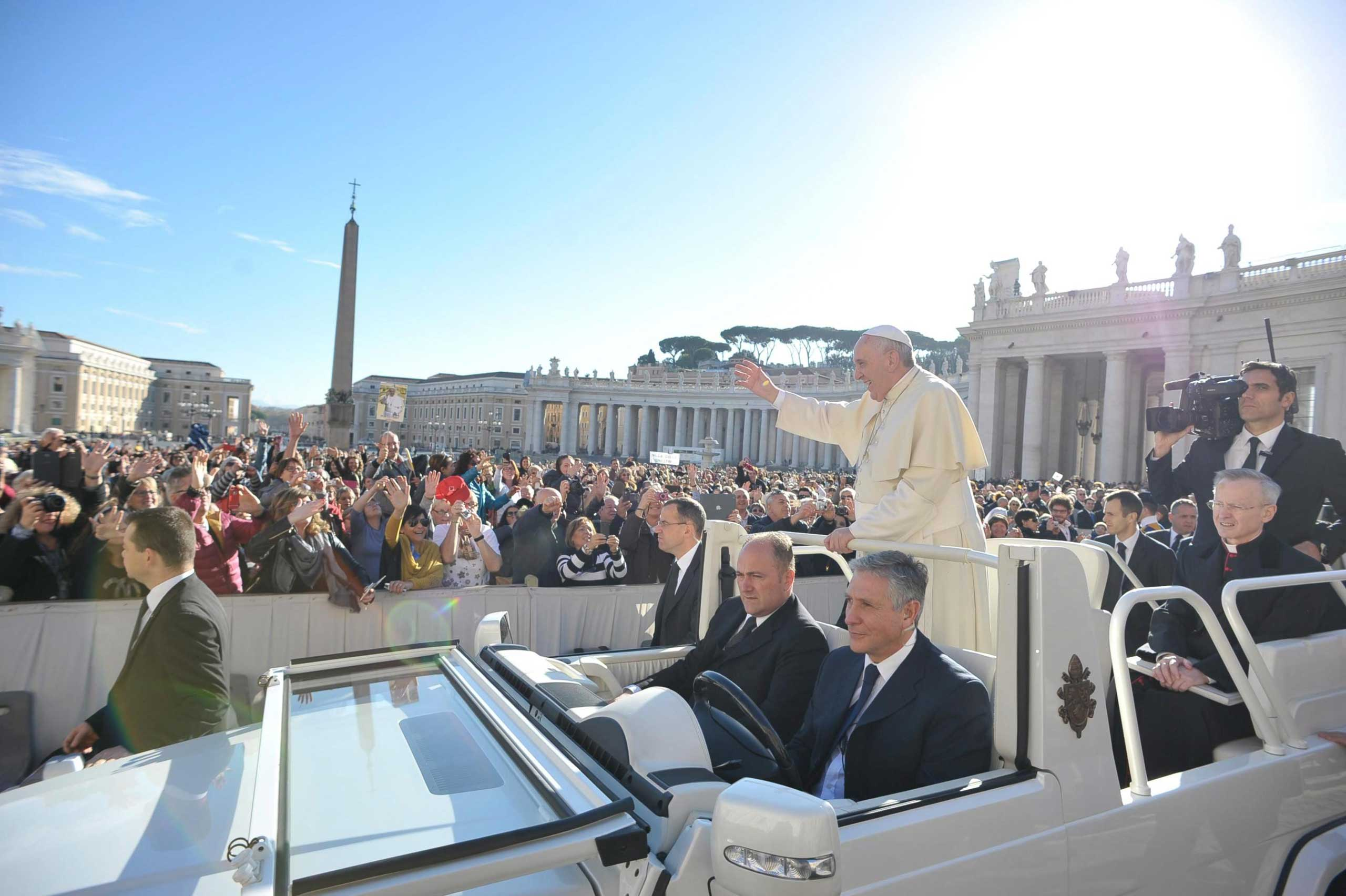 Pope Francis during his weekly general audience in St. Peter square, Vatican City, Nov. 19, 2014.