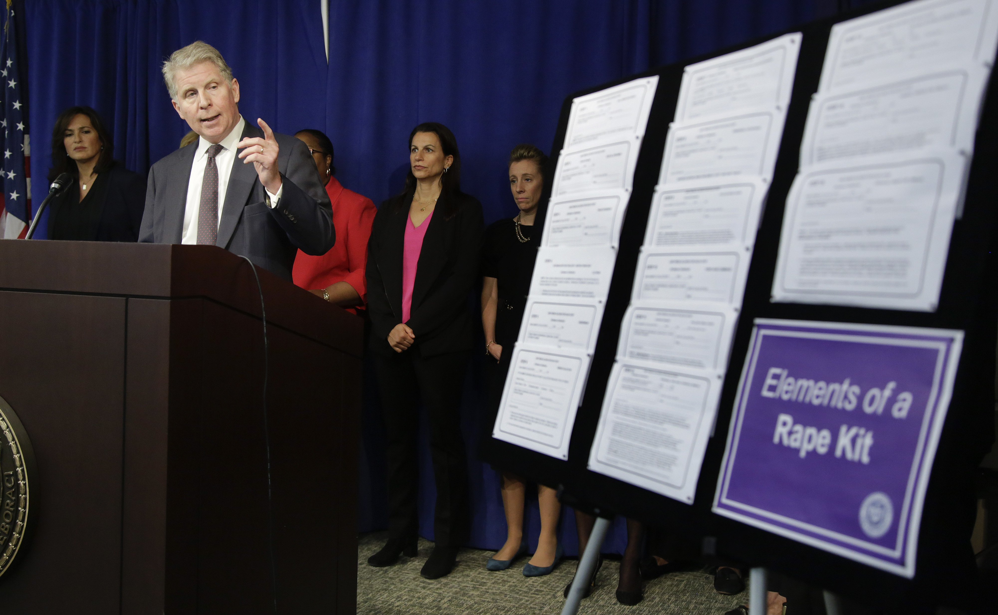 Manhattan district attorney Cyrus Vance Jr. talks about the $35 million he is pledging in funding to eliminate the backlog of untested rape kits in New York City, the state and across the country during a news conference,Nov. 12, 2014, in New York.
