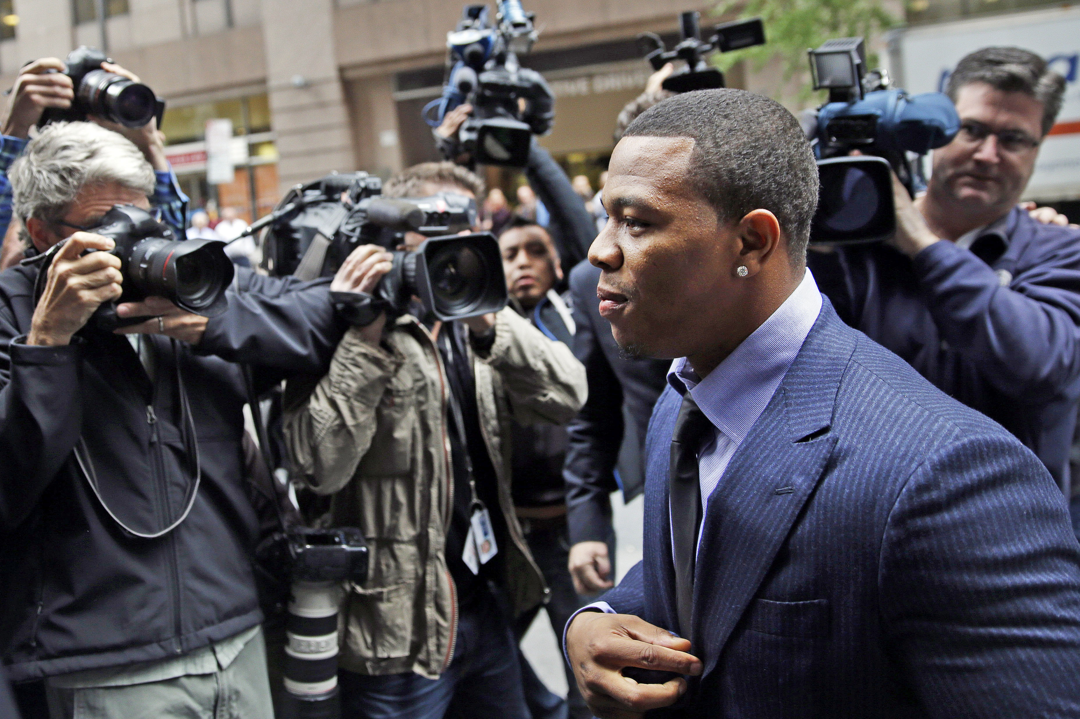 Ray Rice arrives for an appeal hearing of his indefinite suspension from the NFL on Nov. 5, 2014, in New York.