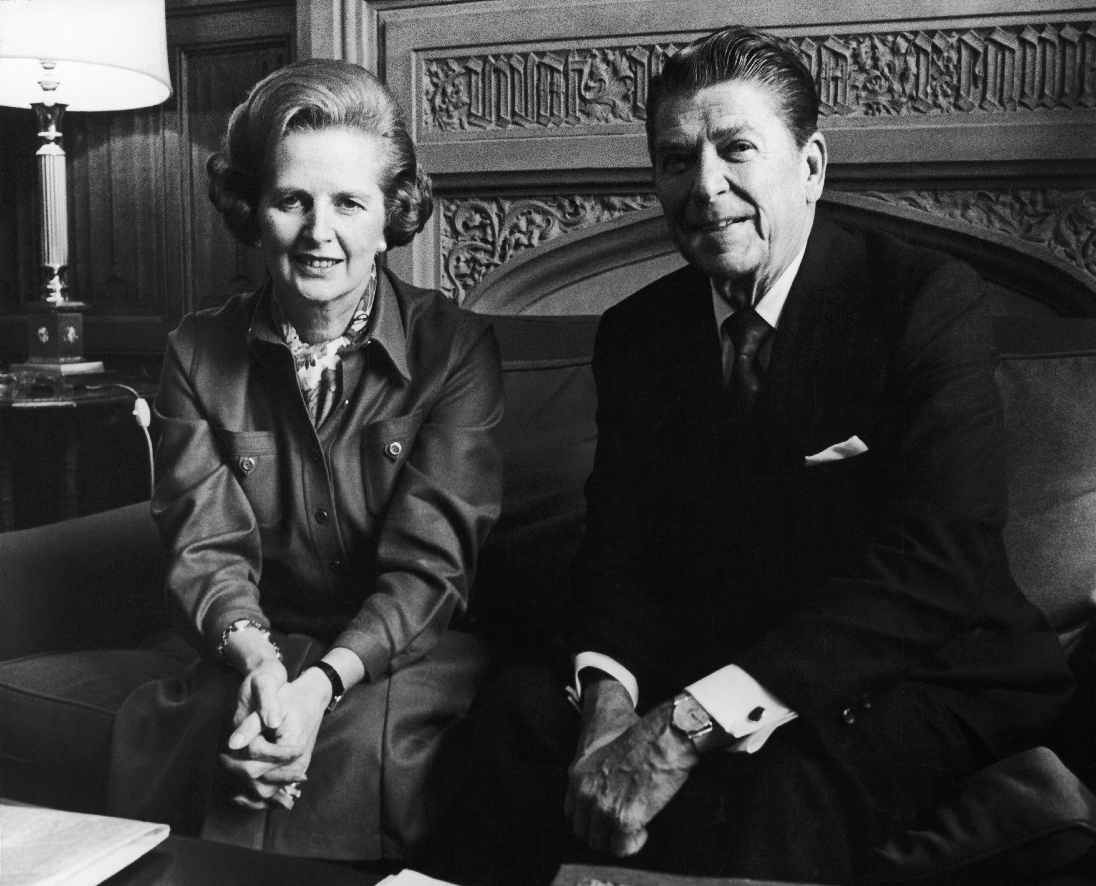 Margaret Thatcher the Head Of The British Conservative Party meets with President Ronald Reagan at The Chamber Of Communes In London on Nov. 28, 1978.