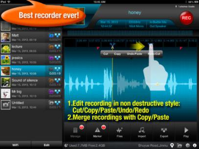 <strong>Recorder Plus + HD.</strong> Recorder Plus + HD is a full-featured audio recording app that lets you record sound files limited only by the available space on your iPad. And if you need to edit those long files, there's a built-in audio editor that's easy to use thanks to the iPad's touchscreen. You can even share your audio files directly over your Wi-Fi network. There's a free version with fewer features, as well.