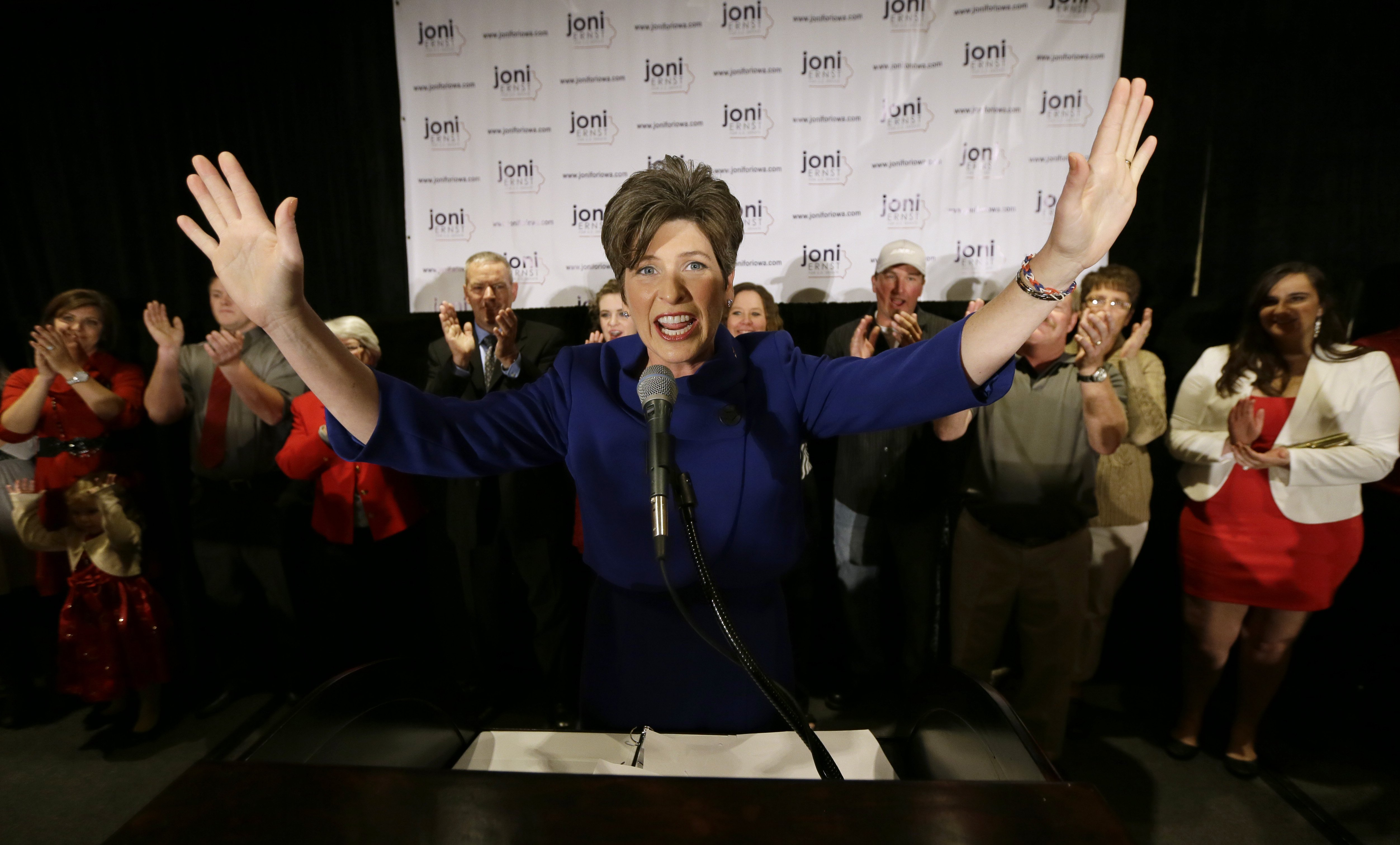 U.S. Sen.-elect Joni Ernst speaks to supporters during an election night rally on Nov. 4, 2014, in West Des Moines, Iowa. Ernst defeated U.S. Rep. Bruce Braley, D-Iowa, in the race to replace retiring U.S. Sen. Tom Harkin.