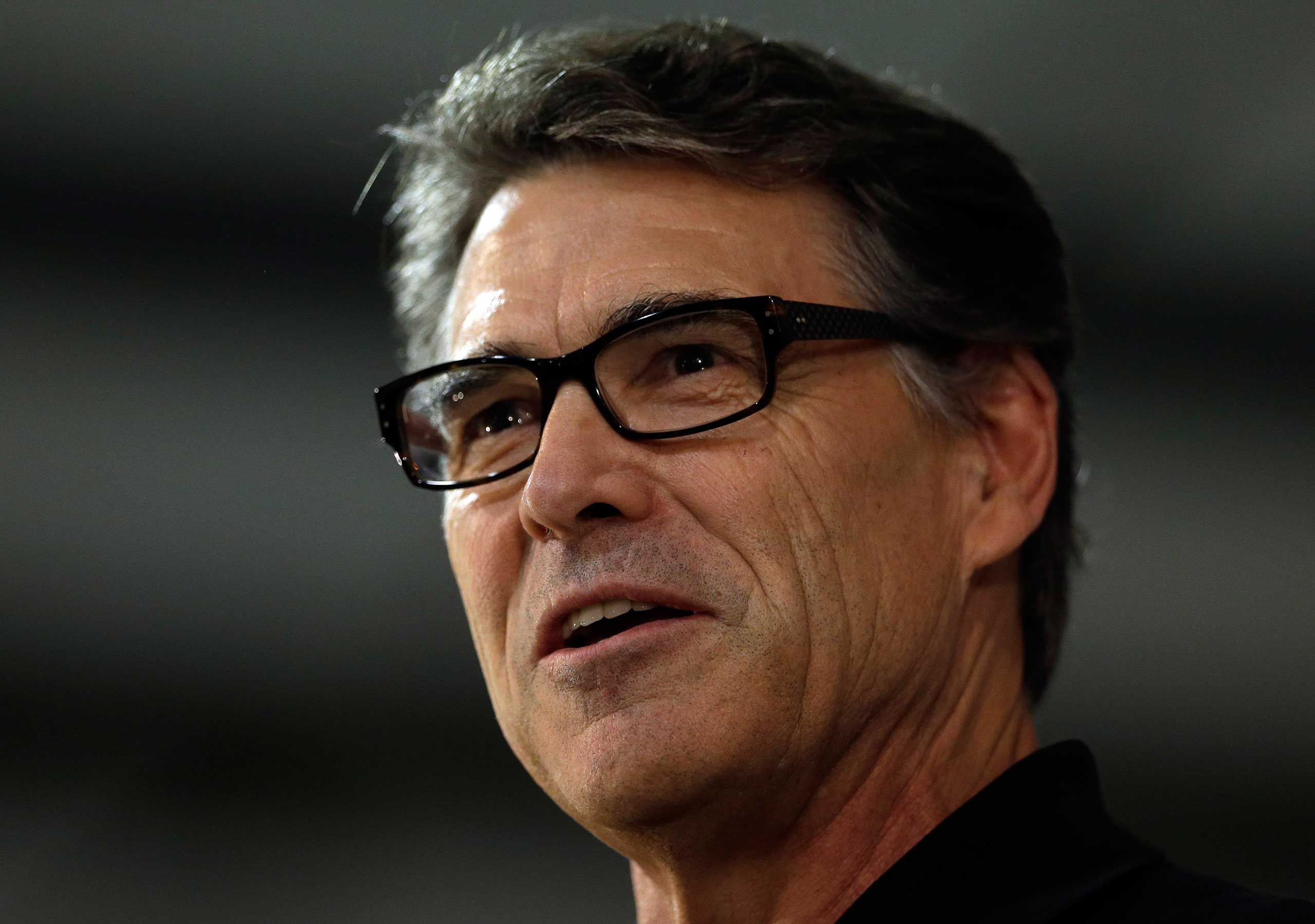 Texas Gov. Rick Perry speaks during a conservative rally in Smithfield, N.C. on Oct. 24, 2014.