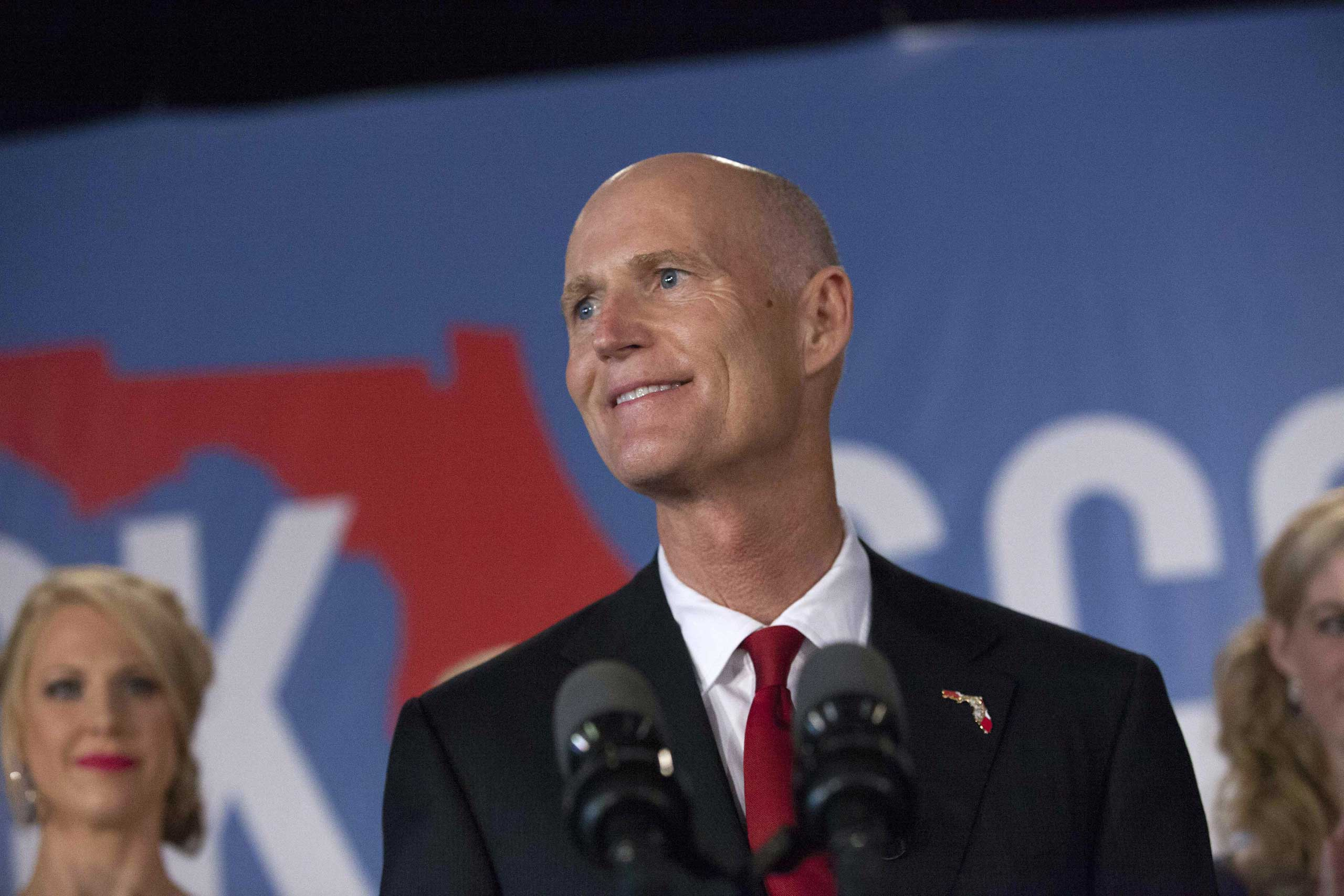 Florida Rep. Gov. Rick Scott gives his victory speech Nov. 4, 2014 in Bonita Springs, Florida.