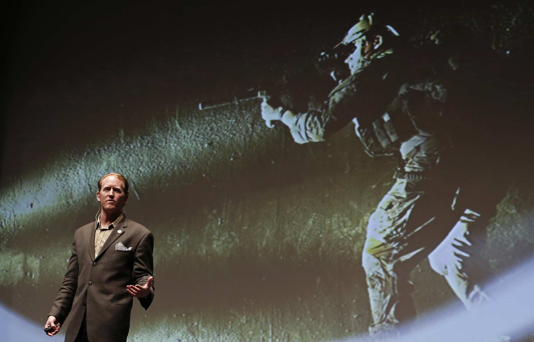Robert O'Neill, a former U.S. Navy SEAL, speaks at the  Best of Blount  Chamber of Commerce awards ceremony at the Clayton Center for the Arts in Maryville, Tennessee, U.S., on Thursday, Nov. 6.