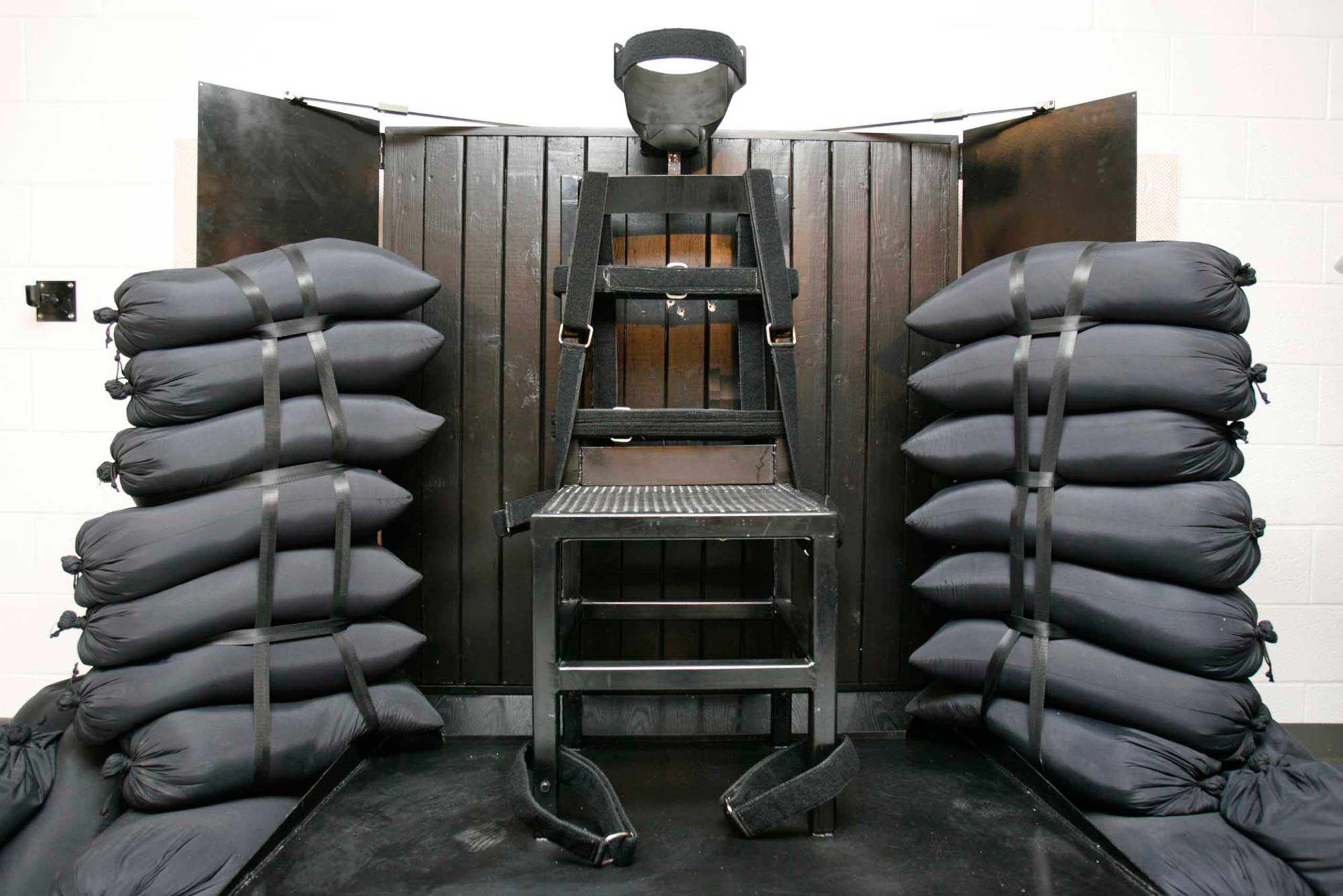 The execution chamber at the Utah State Prison after Ronnie Lee Gardner was executed by firing squad, with visible bullet holes, on June 18, 2010 in Draper, Utah.