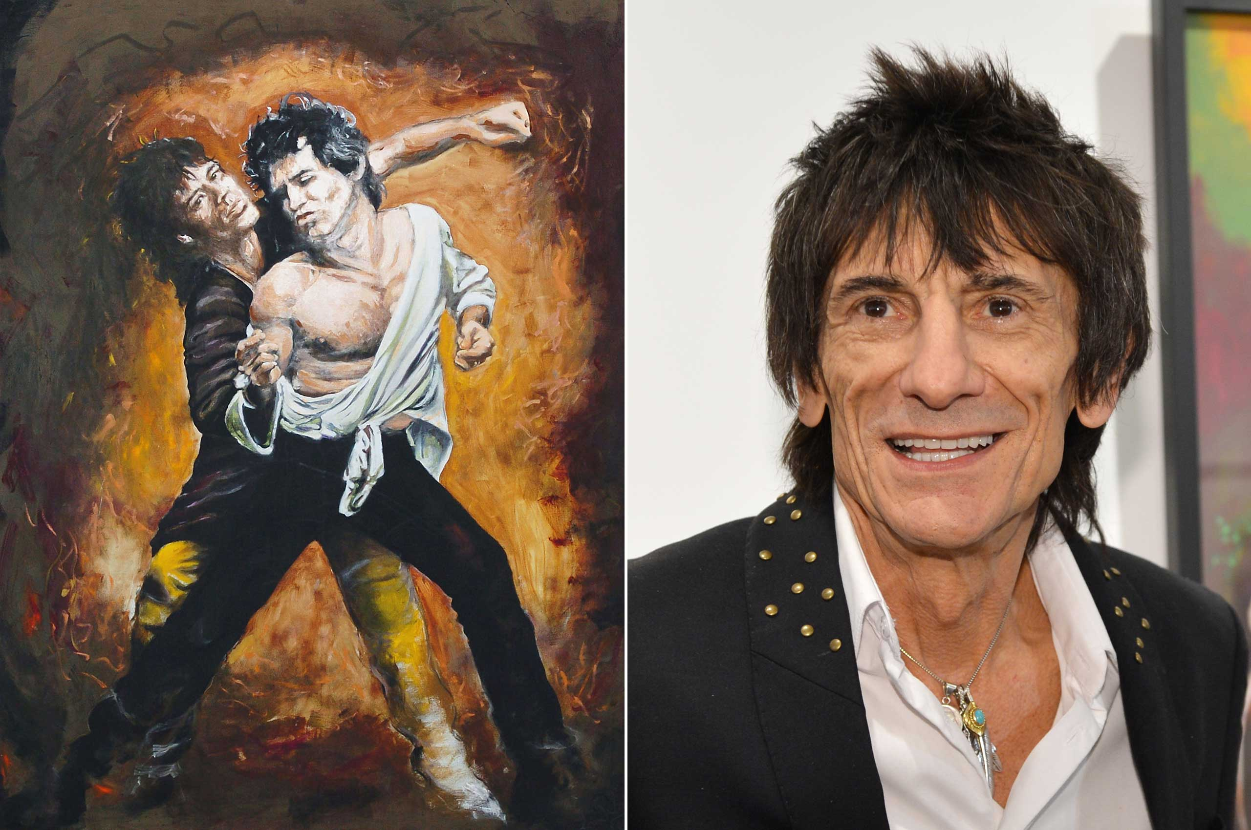 Rolling Stones guitarist Ronnie Wood created this painting of his bandmates Mick Jagger and Keith Richards.