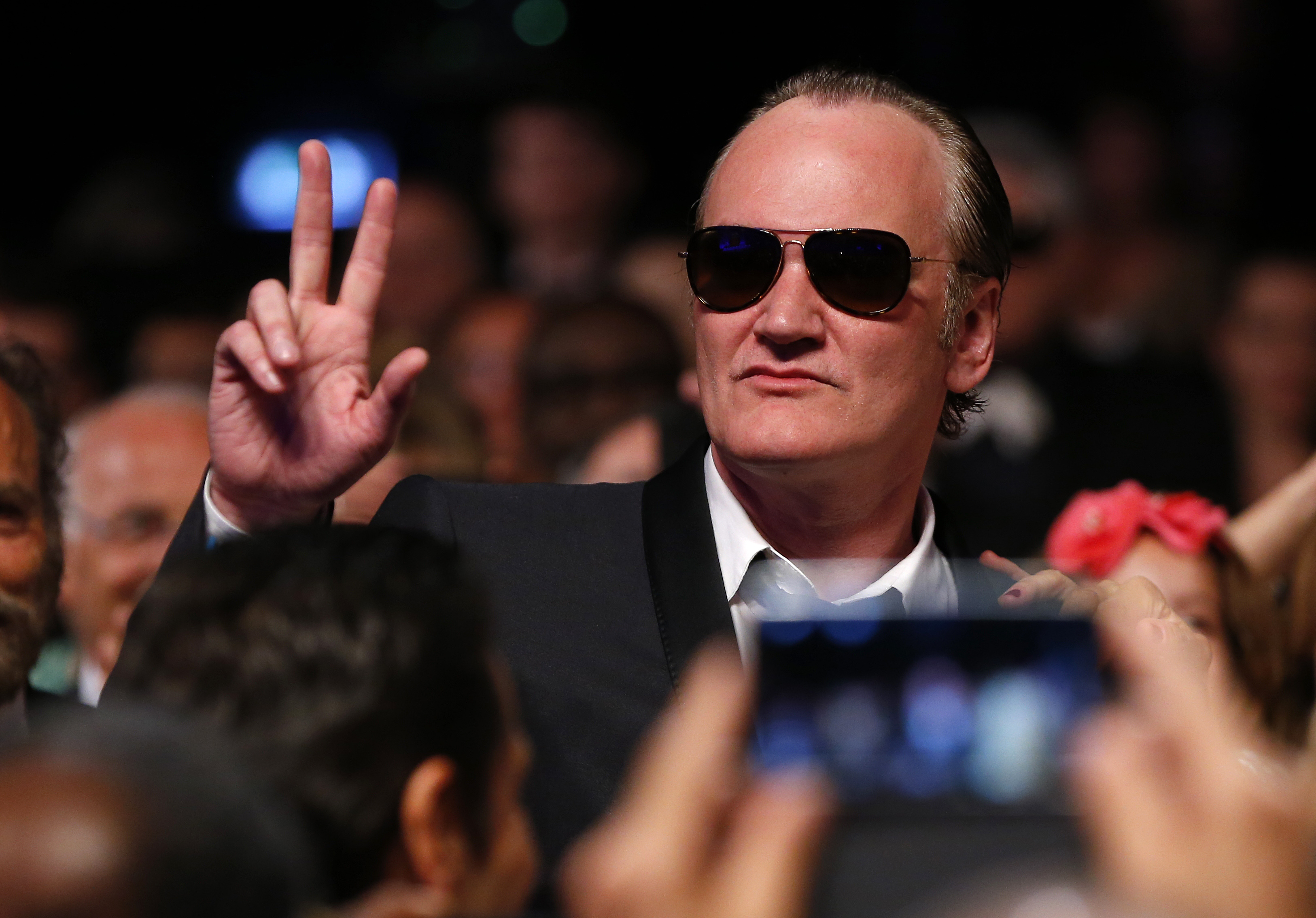 Director Quentin Tarantino reacts as he arrives to attend the closing ceremony of the 67th Cannes Film Festival in Cannes May 24, 2014.
