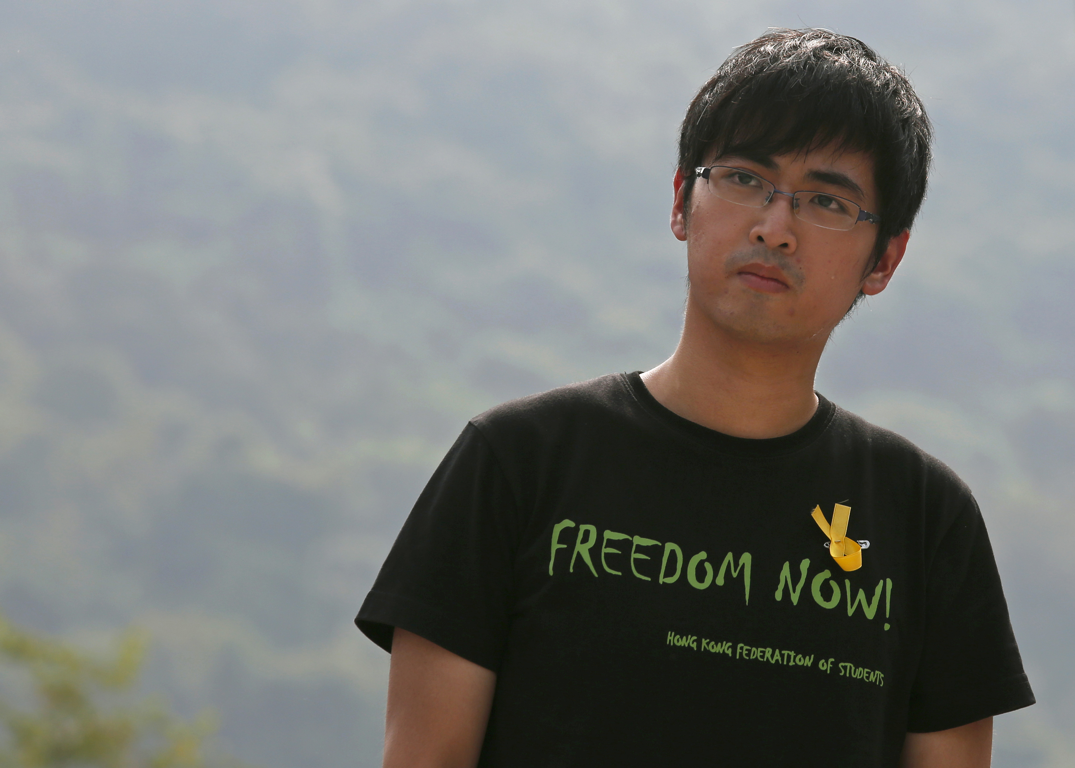 Alex Chow, secretary-general of the Hong Kong Federation of Students, attends a rally at the Chinese University in Hong Kong on Sept. 22, 2014