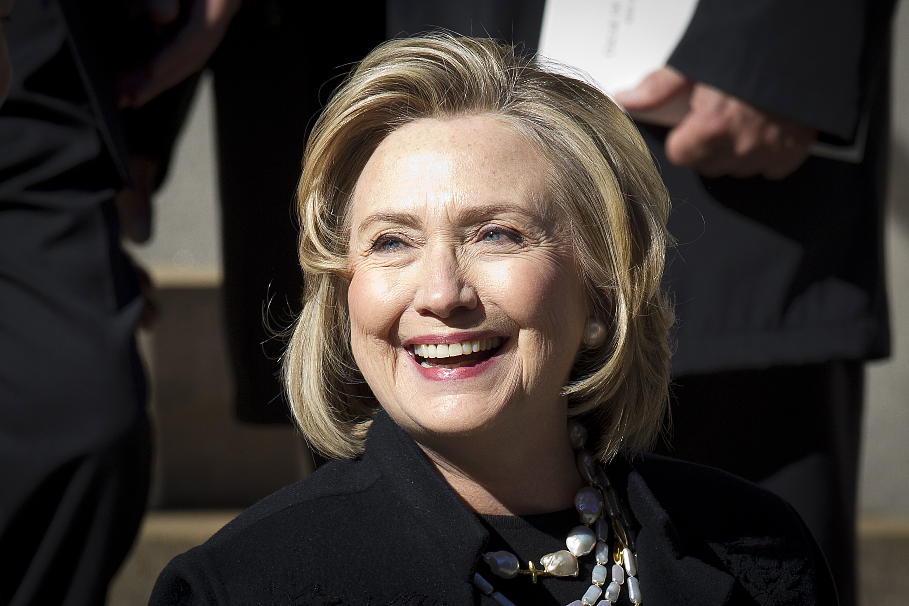 Former first lady Hillary Clinton departs St. Ignatius Loyola church following fashion designer Oscar de la Renta's memorial service in the Manhattan borough of New York November 3, 2014.