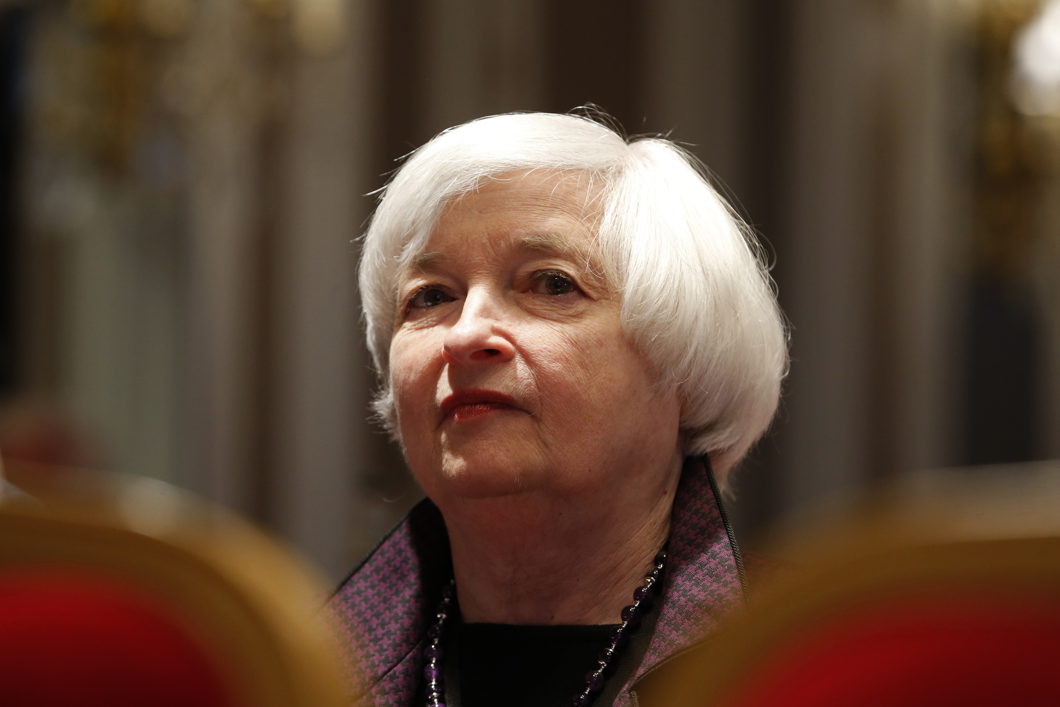 U.S. Federal Reserve Chair Janet Yellen attends a conference of central bankers hosted by the Bank of France in Paris Nov. 7, 2014