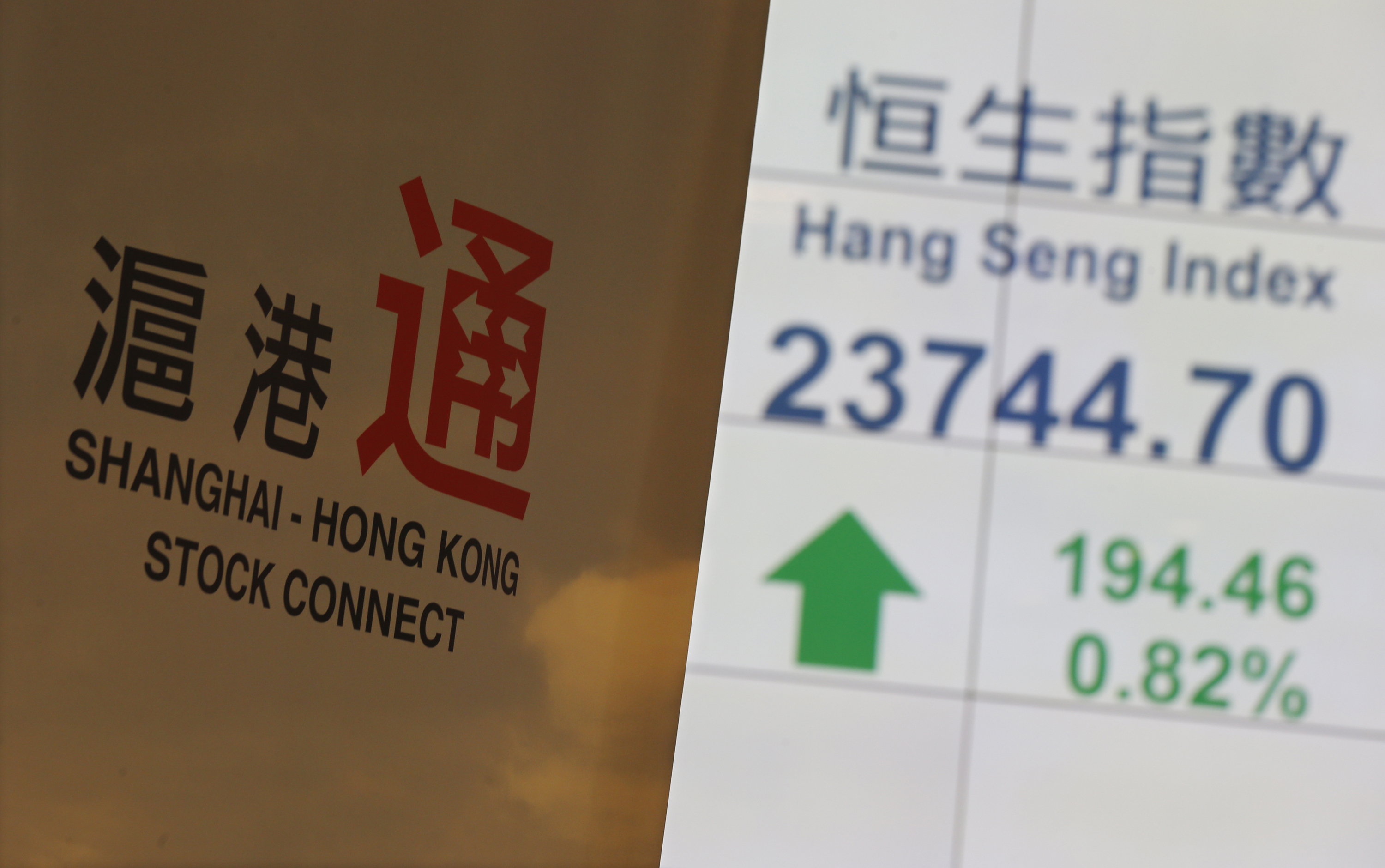 A banner introducing the Shanghai–Hong Kong Stock Connect is displayed in front of a panel showing the closing blue-chip Hang Seng Index at the Hong Kong Stock Exchange in Hong Kong on Nov. 10, 2014