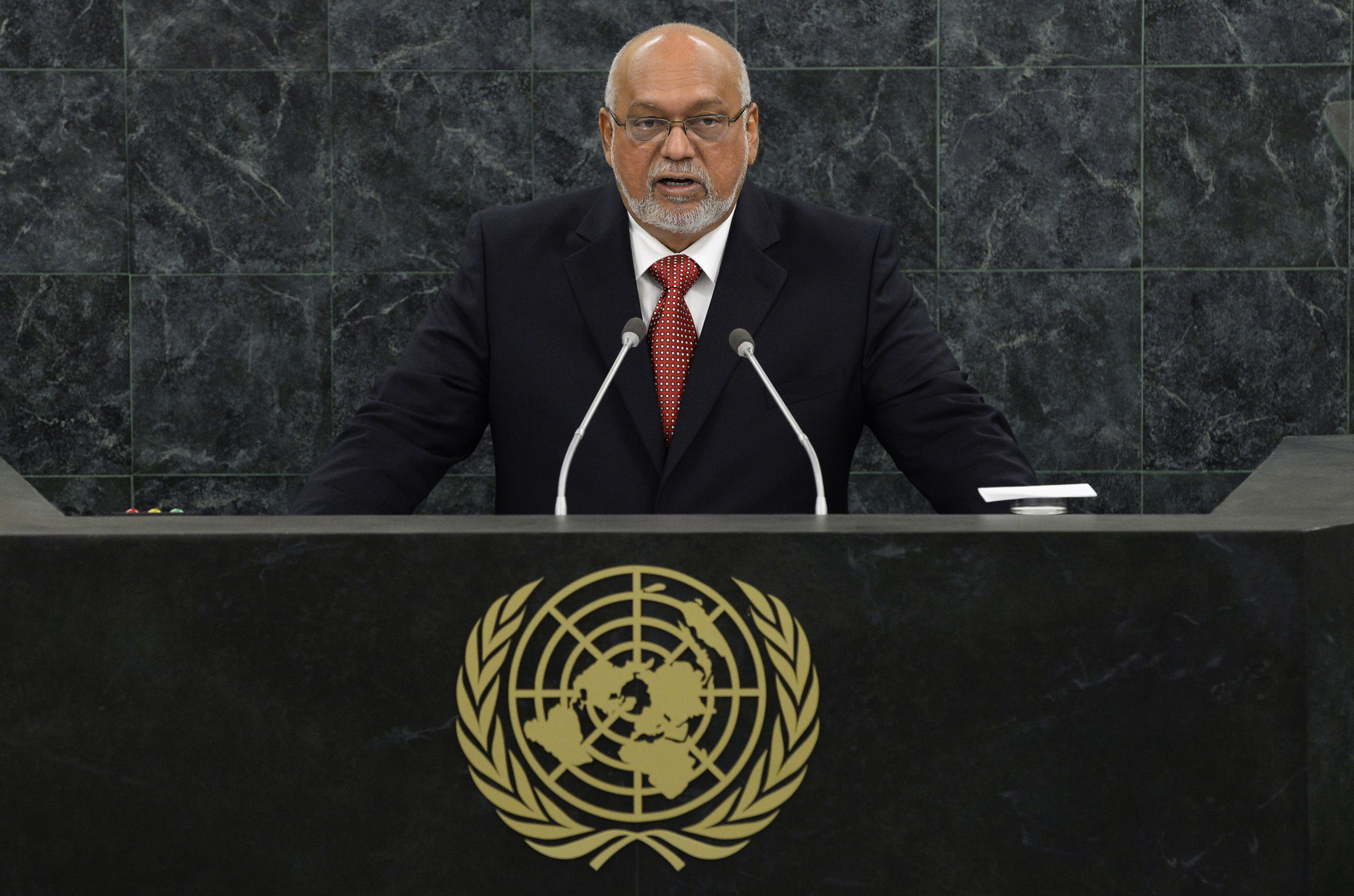 Donald Rabindranauth Ramotar, President of the Republic of Guyana, addresses the 68th United Nations General Assembly at U.N. headquarters in New York, September 26, 2013.