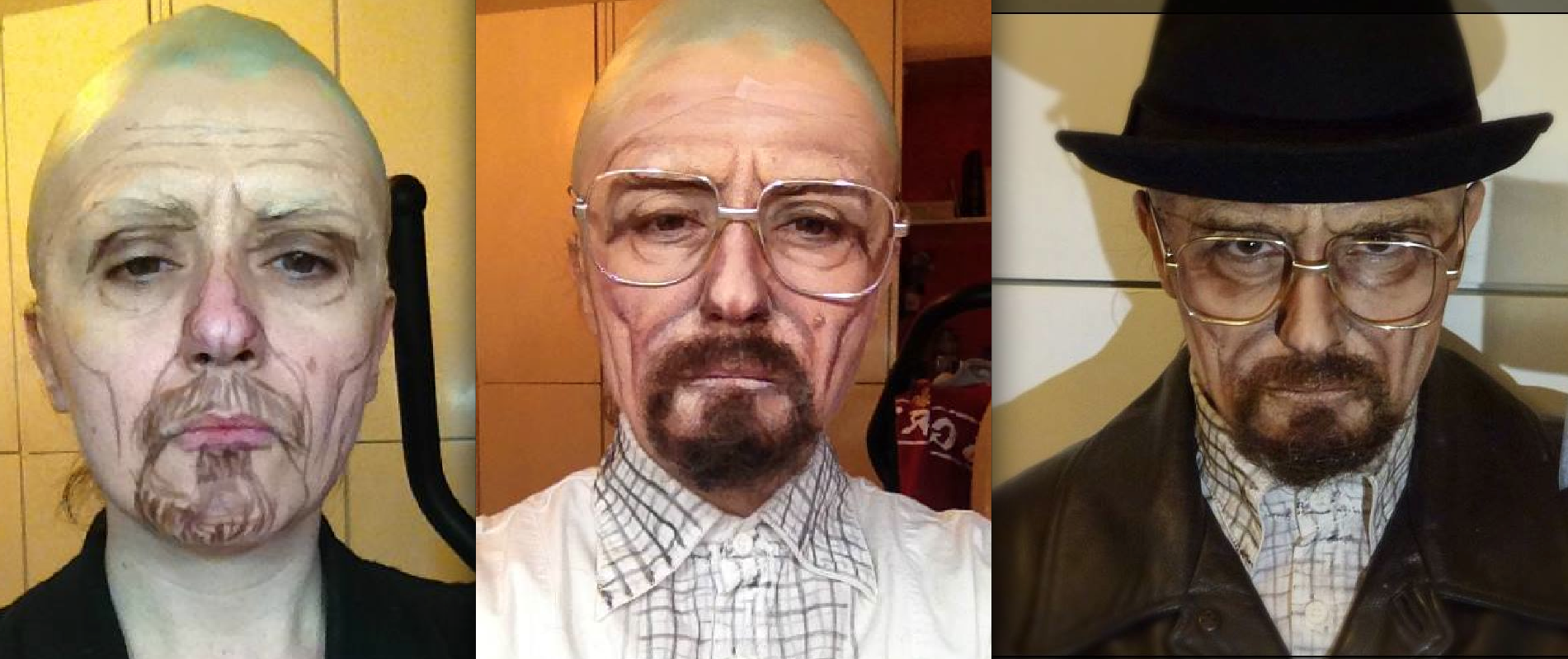 Lucia Pittalis as Bryan Cranston's character Walter White in Breaking Bad