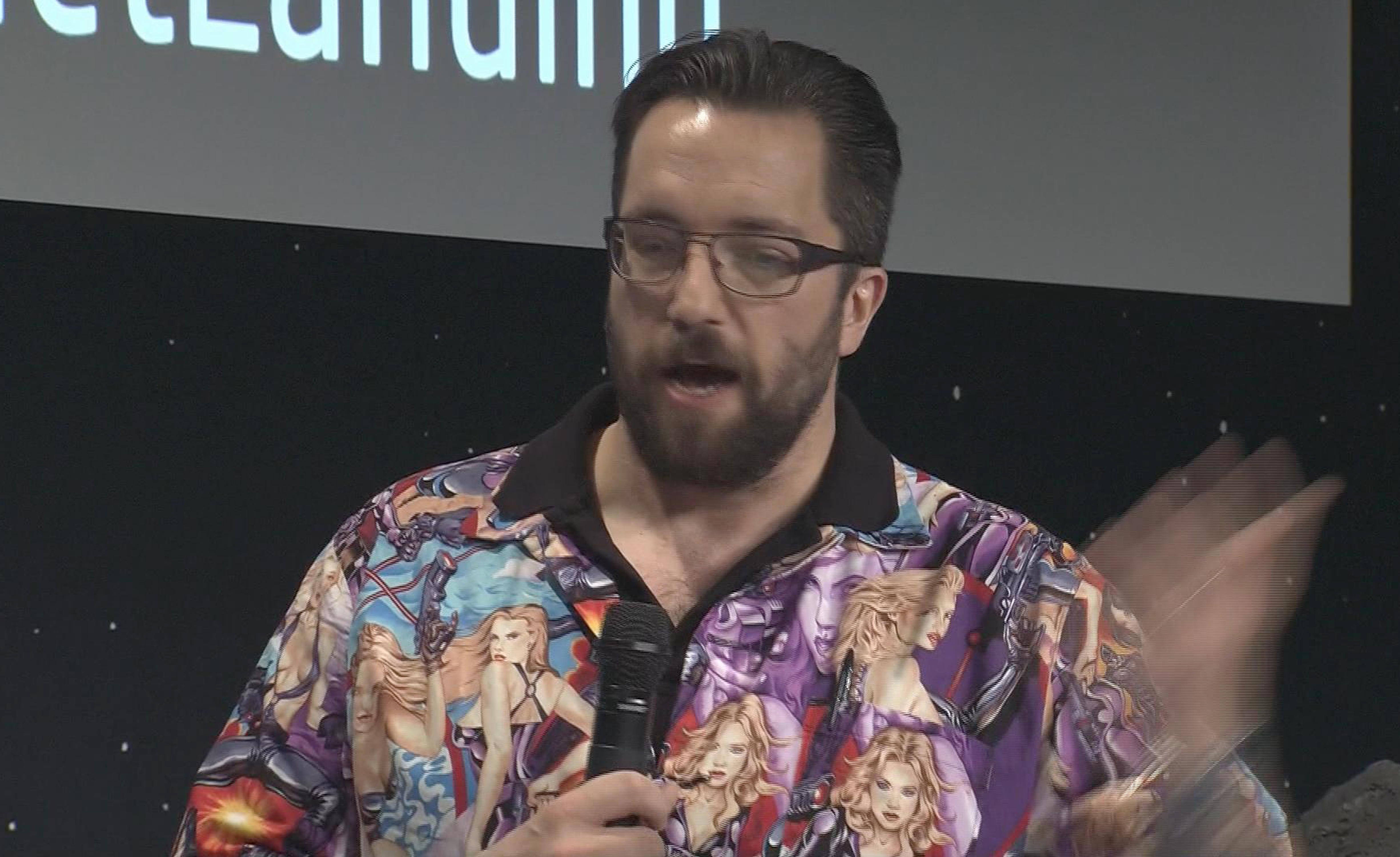 British physicist Matt Taylor sporting a garish shirt featuring a collage of pin-up girls during an interview at the satellite control centre of the European Space Agency in Darmstadt, Germany on Nov. 13, 2014.