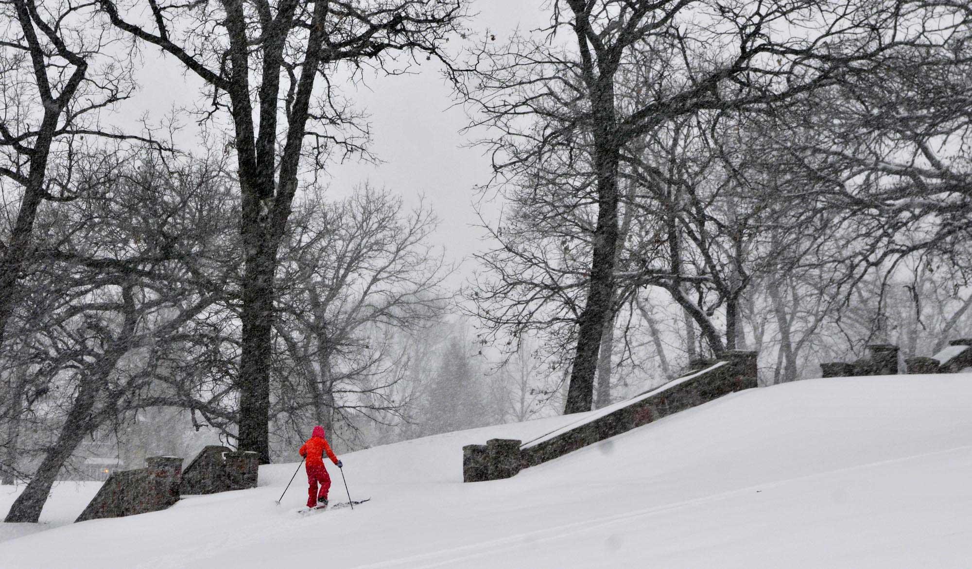 Wren Scott-Lumbar, 11, skis at Hester Park, in St. Cloud, Minn. on Nov. 10, 2014.
