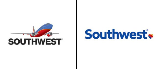 Left: Previous Southwest logo; Right: Updated logo as of Sept. 2014.
