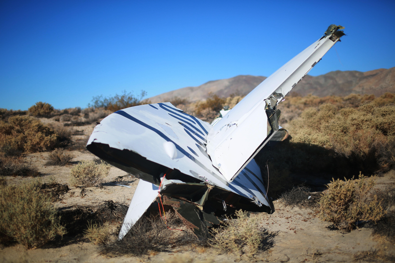 Broken dream: Debris from Virgin Galactic SpaceShipTwo sits in a desert field on Nov. 2, 2014 north of Mojave, Calif.