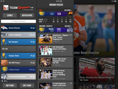 <strong>Team Stream HD.</strong> Bleacher Report's Team Stream app has a pretty fitting name. You pick your favorite sports teams and the app serves up a heaping helping of scores, tweets, articles, videos and photos in short order. You can set yourself up to get various notifications as they happen, and easily share updates over social media and via text messages to your friends.