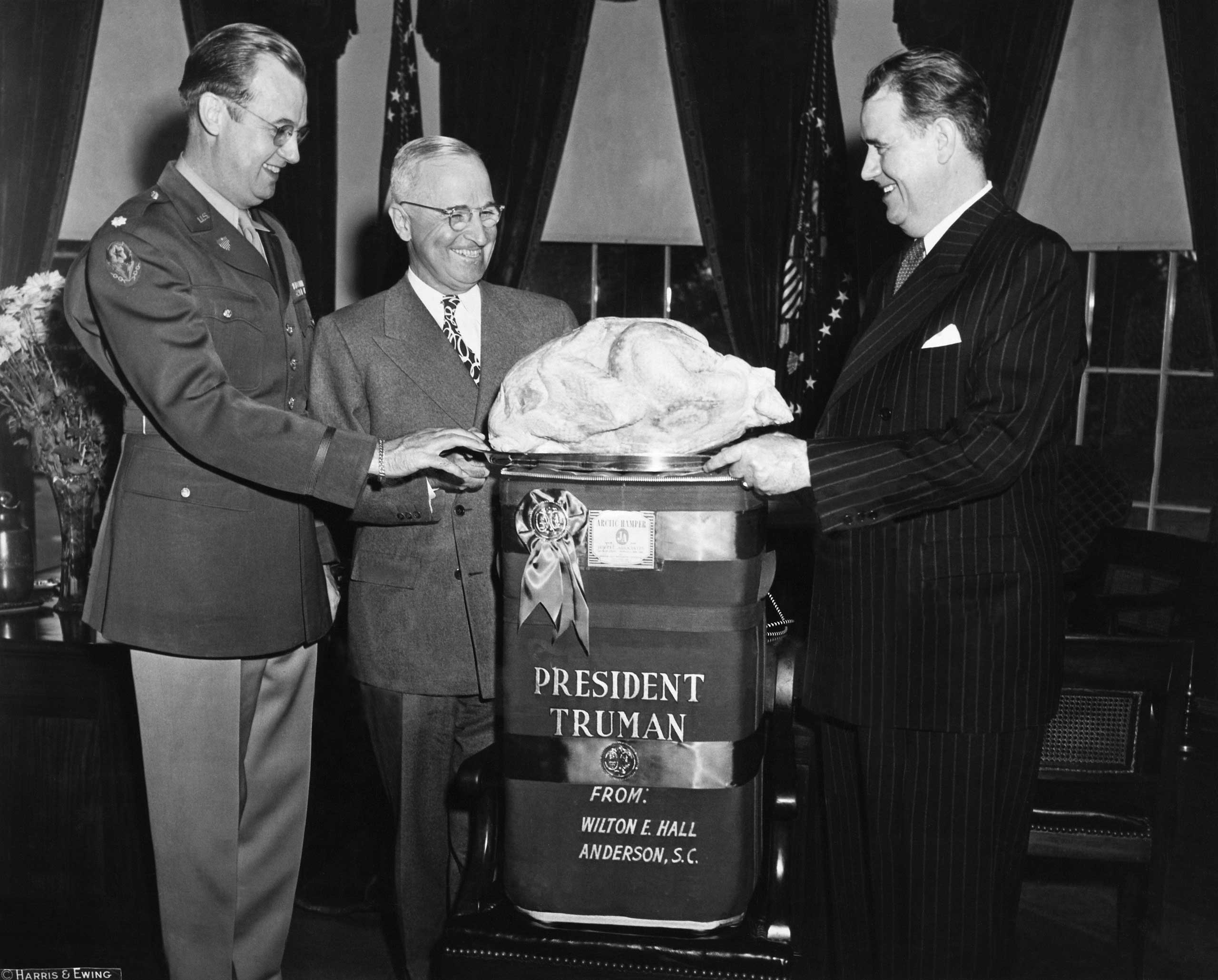President Truman receives the Thanksgiving Turkey In Washington D.C. on Nov. 25, 1946.
