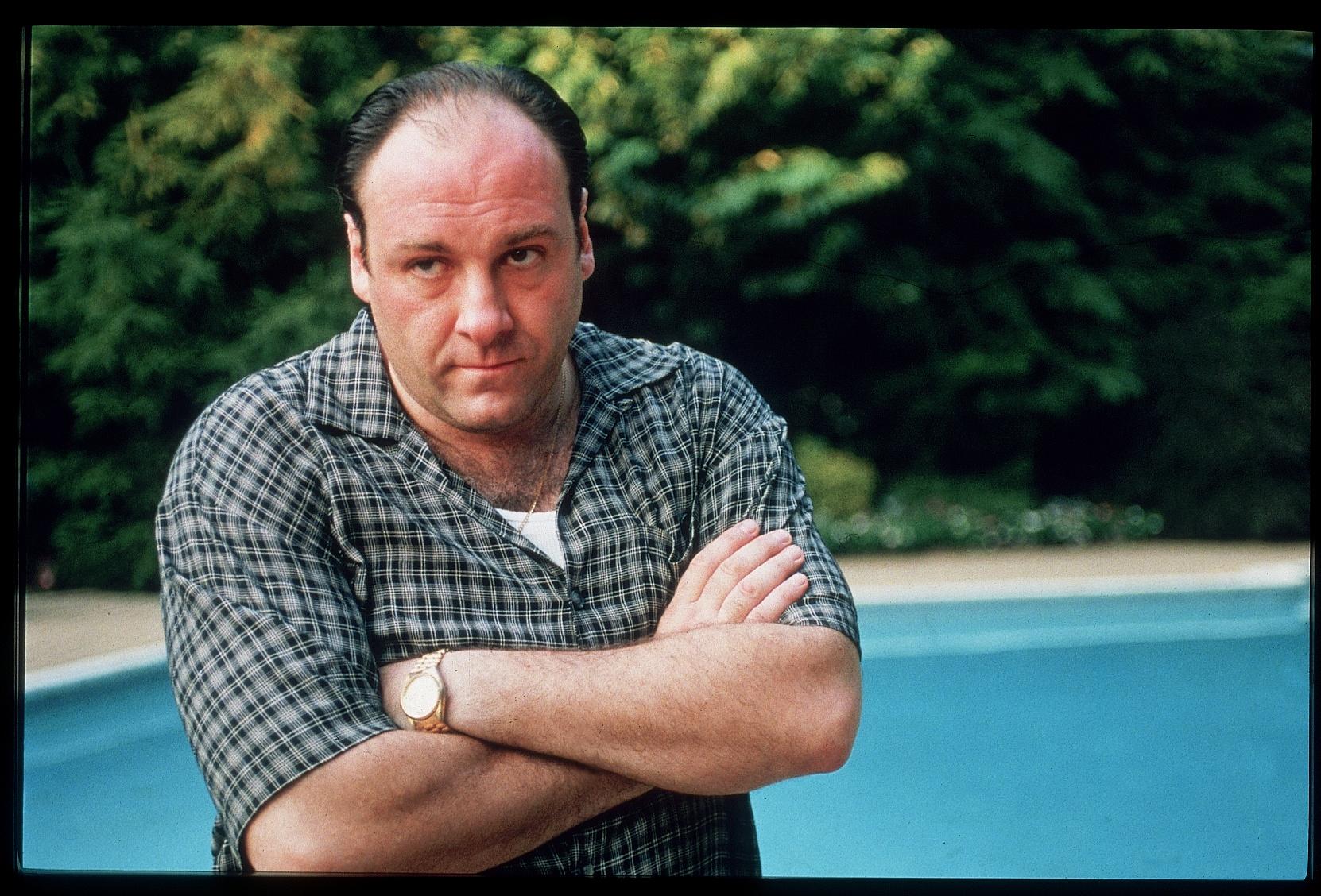 Actor James Gandolfini in scene from HBO TV drama series The Sopranos.