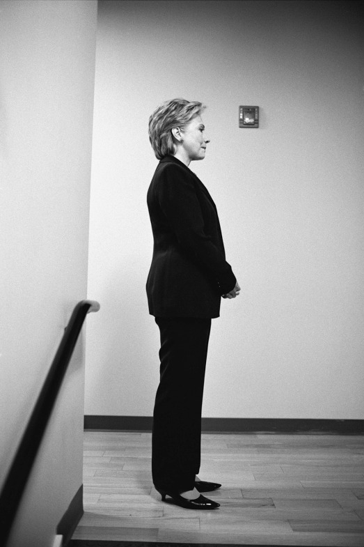 Hillary gathers her thoughts moments before her introduction at Nueva Esperanza Academy Charter High School in Philadelphia. Apr. 18, 2008.