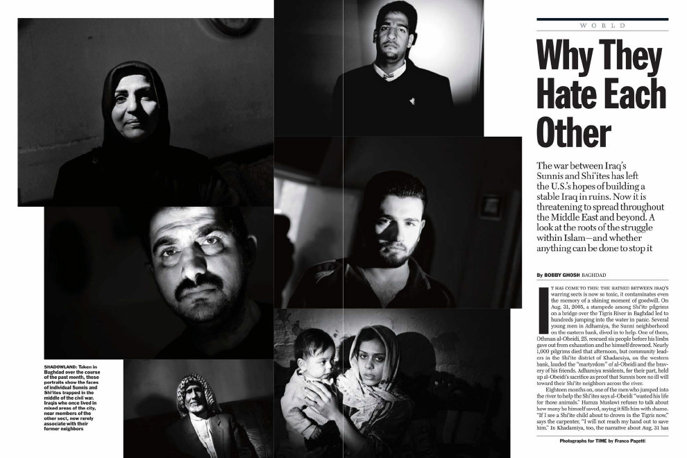 From they March 5, 2007 issue of TIME. At the height of a civil war, Franco Pagetti  embedded with U.S. forces to photograph the sectarian divide in Iraq. To underscore that a distinguishing feature between Sunnis and Shia are their names, Franco took black and white portraits, some as double exposure, of people holding their ID cards. As a foreign photographer working for an American magazine, this was the only way to photograph inside Iraqi homes.