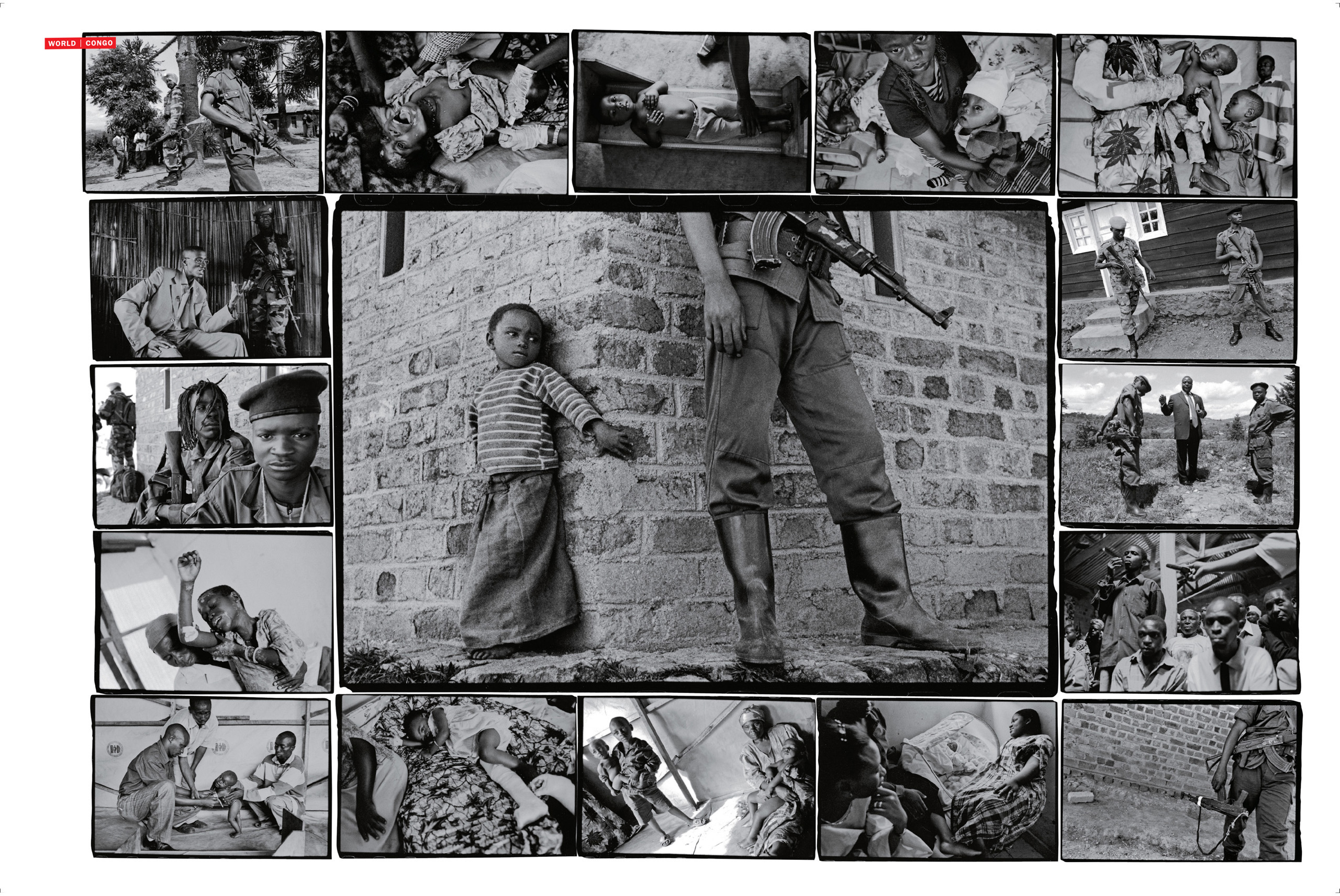 Another montage from the magazine, Here, the center image shows a young girl watching a guerrilla fighter.
