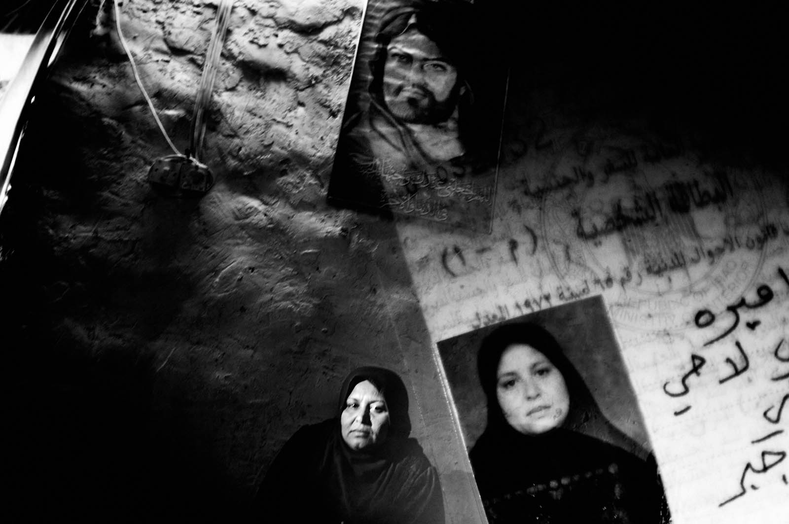 In this unpublished double exposure photo, a Shiite woman sits for a portrait in Baghdad, Iraq on Feb. 6, 2007. Al-Kaibee's house was destroyed by a car bomb in Dec. 2006.