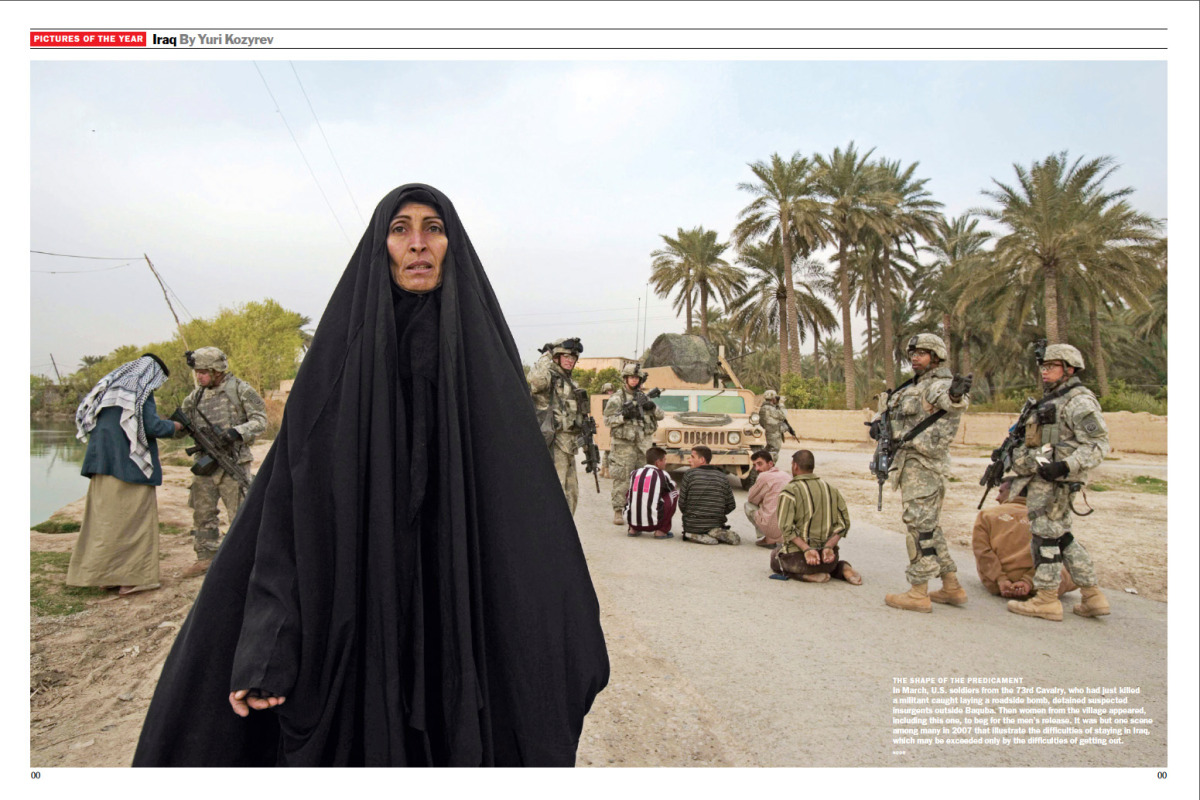 From the 2006 Best Photos of the Year issue of TIME. Yuri Kozyrev had embedded with the 73rd Cavalry and photographed this woman pleading for the release of men suspected of being insurgents outside of Baqubah.