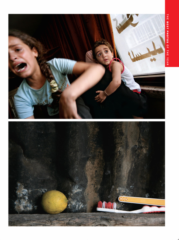 From the Oct. 16, 2006 issue of TIME. We published these two pictures juxtaposing frightened children crying at the funeral of their father, a Fatah militant killed in an Israeli air strike – and the ordinary – a toothbrush in a Gaza bathroom.