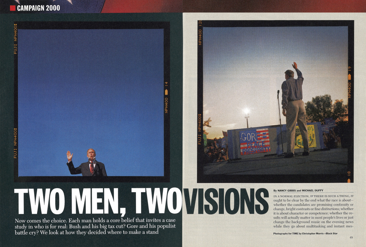 From the Nov. 6, 2000 issue of TIME. I started working with renowned  war photographer  Christopher Morris in the summer of 2000 – during the last big push by both the Bush and Gore campaigns – when Chris began experimenting with medium format film cameras. As his photo editor until the beginning of the Bush administration in 2003, I was excited to see a political campaign photographed in a new  way. I also knew the constraints of being a political beat photographer: limited access, scripted events, with hours of waiting for brief photo ops. By supporting this work, it was my hope that Chris would continue to stay creative and engaged despite these limitations.