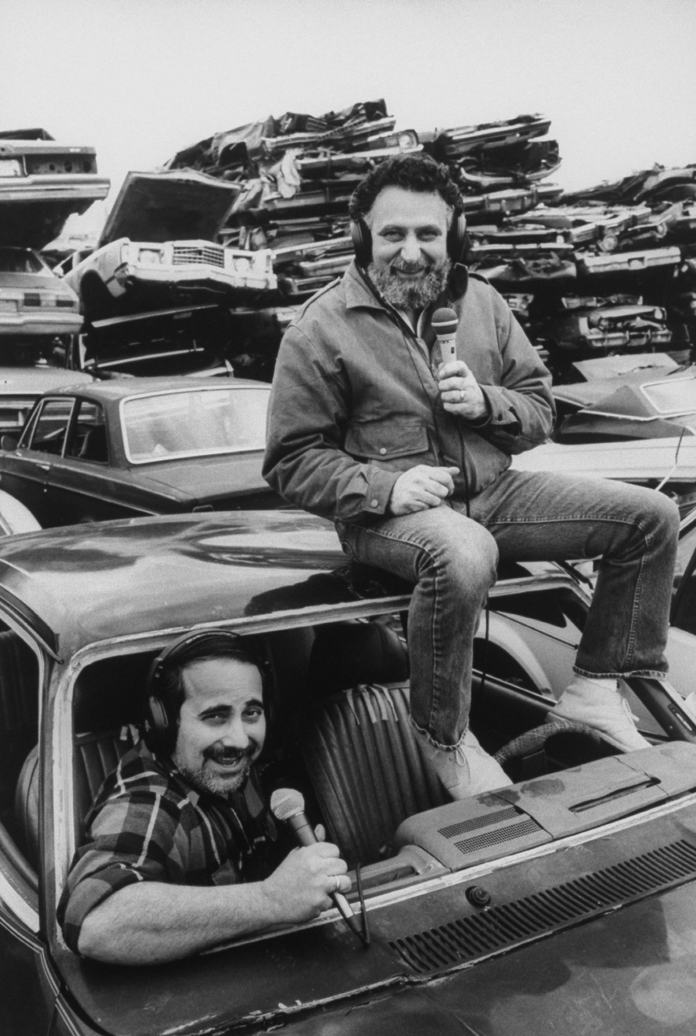 From Left: Ray Magliozzi and Tom Magliozzi car mechanics and radio talk show hosts for the show, Car Talk on WBUR-FM National Public Radio.