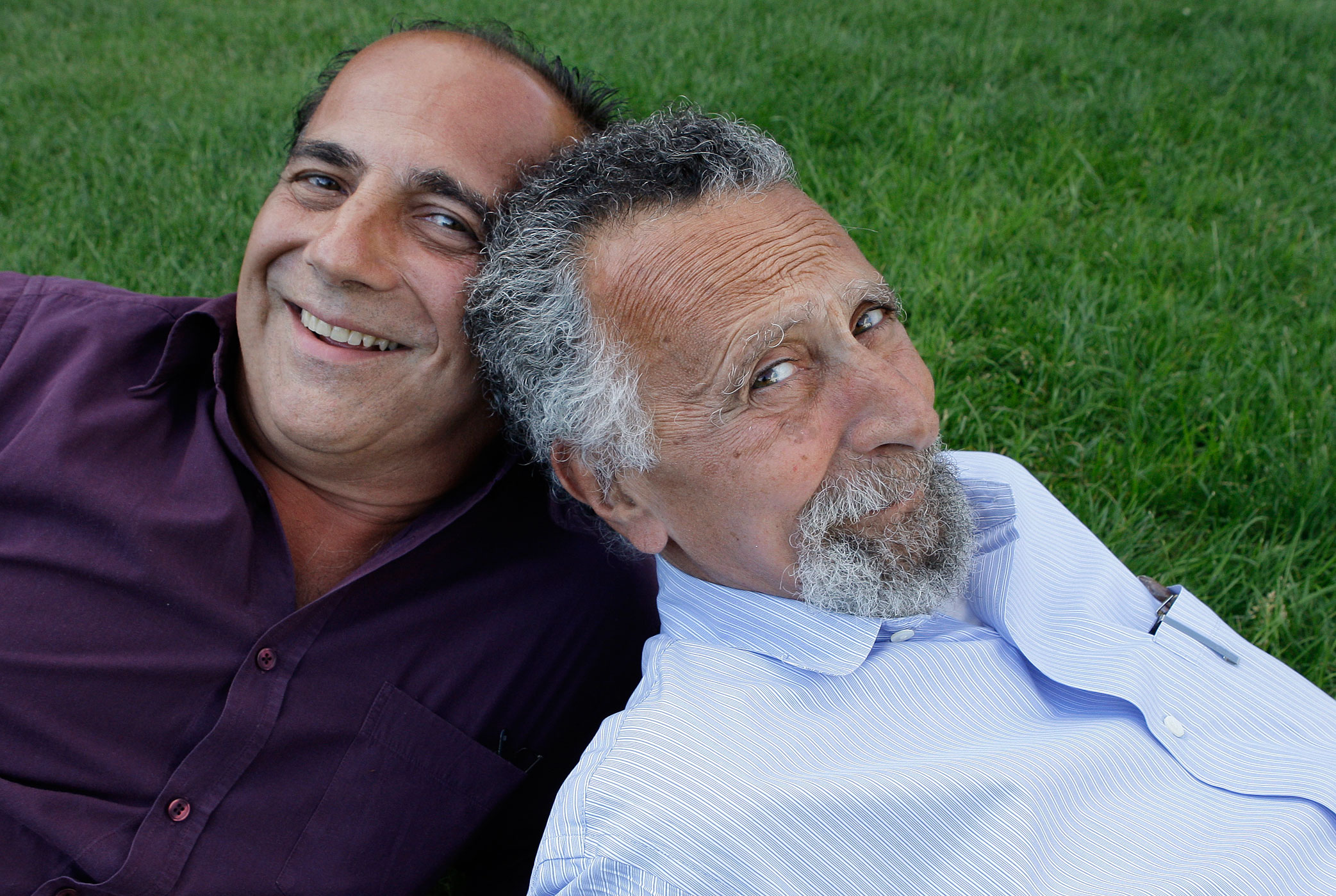 Brothers Ray, left, and Tom Magliozzi, co-hosts of National Public Radio's Car Talk, pose for a photo in Cambridge, Mass on June 19, 2008.