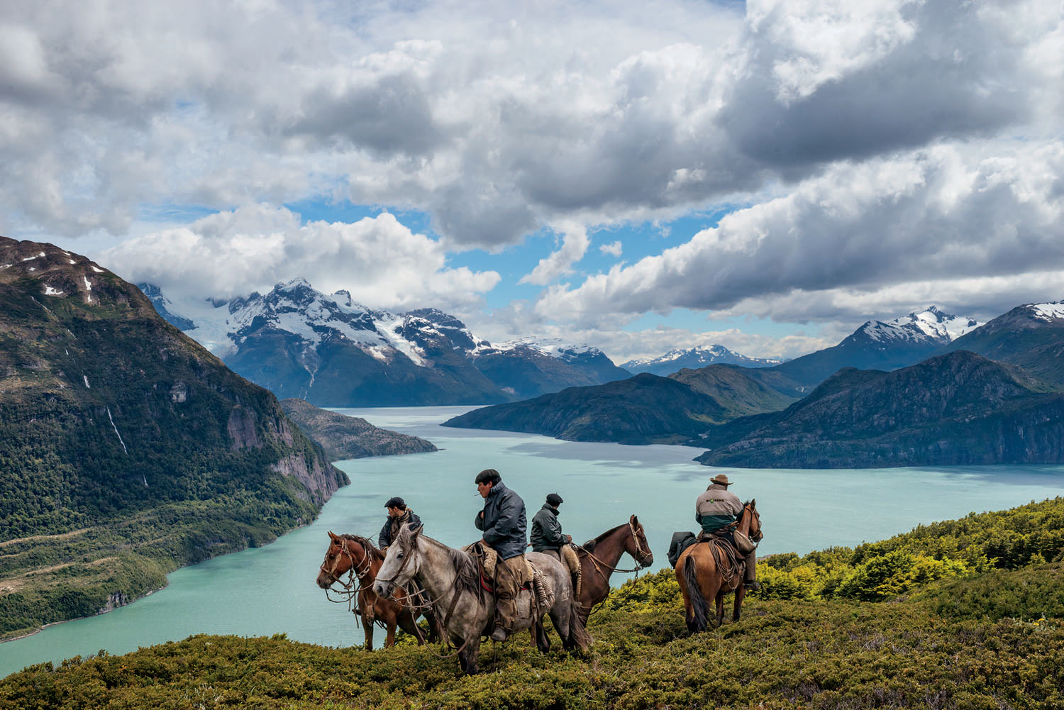 "From the December issue of National Geographic magazine:  Cowboys on the EdgeBagualeros—cowboys who capture feral livestock—pause in their search for cattle on Antonio Varas Peninsula, in Chilean Patagonia. Few choose the bagualero way. ""It's a beautiful life but a tough one,"" says Sebastián García Iglesias (at far left)."